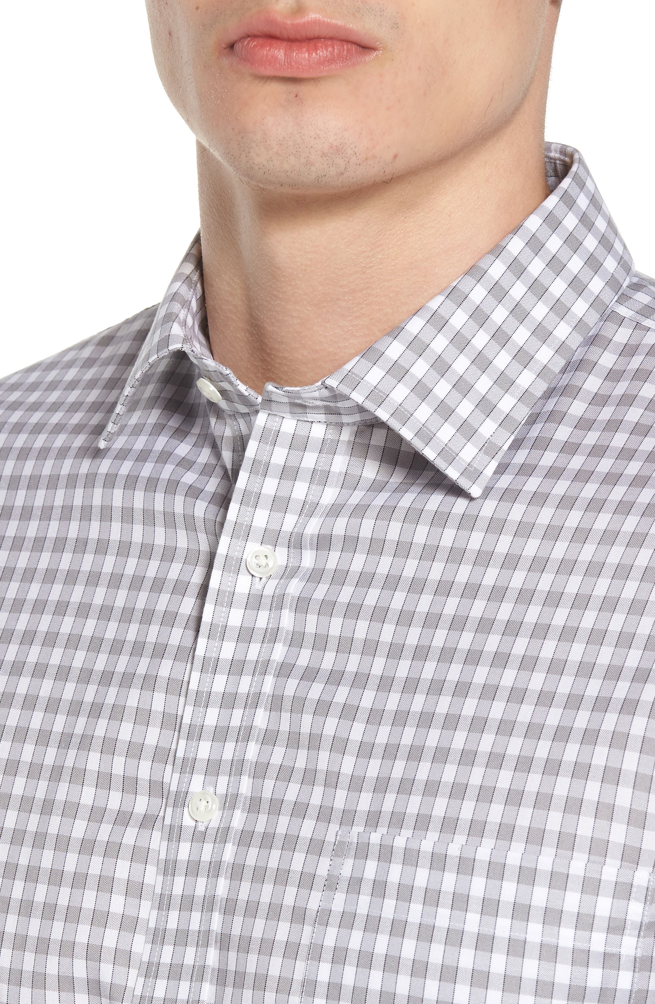 Alternate Image 4  - Nordstrom Men's Shop Smartcare™ Trim Fit Check Dress Shirt