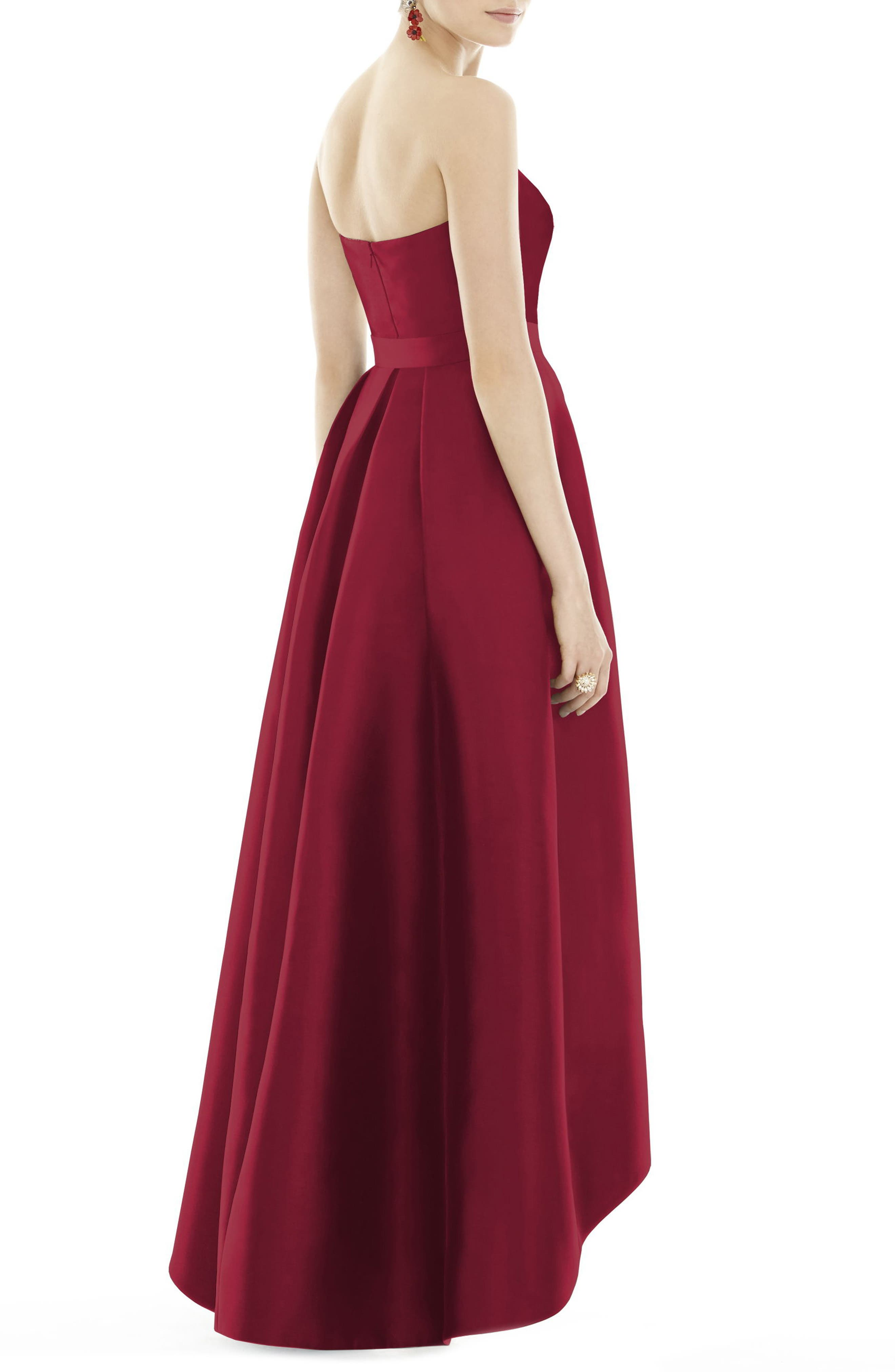 Strapless High/Low Sateen Twill Gown,                             Alternate thumbnail 2, color,                             Burgundy