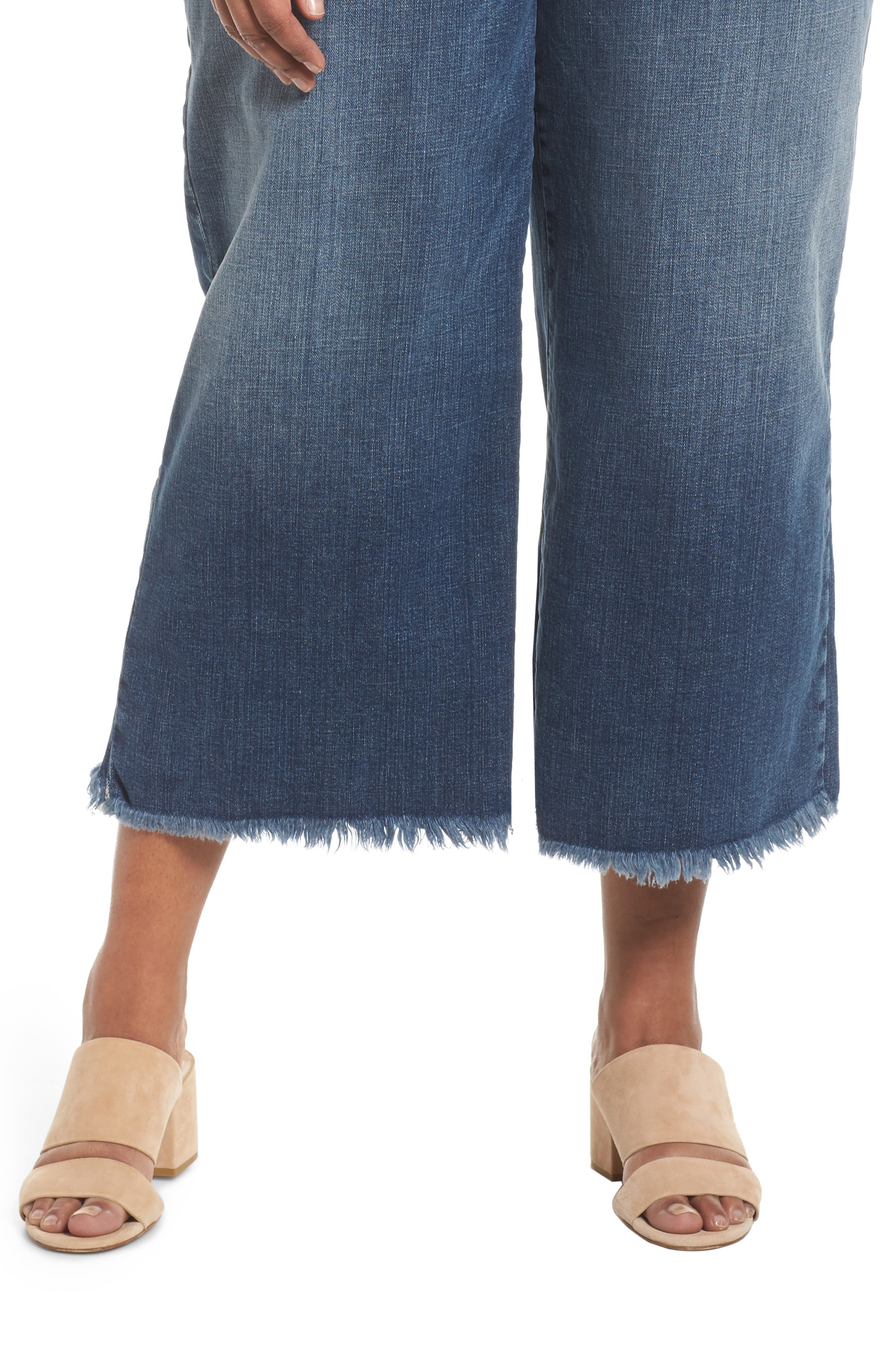Wide Leg Ankle Jeans,                             Alternate thumbnail 4, color,                             Aged Indigo