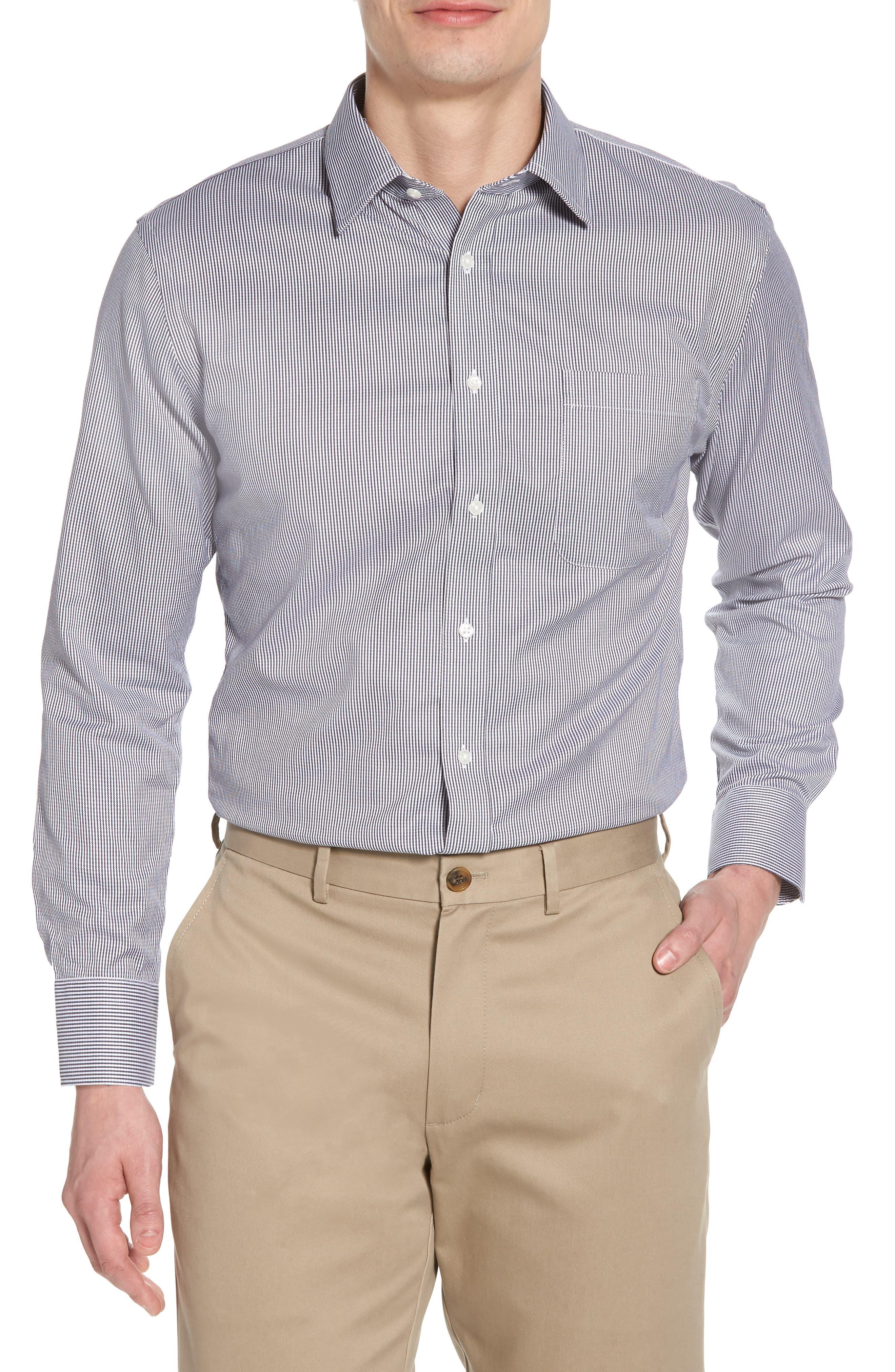Smartcare<sup>™</sup> Trim Fit Stripe Dress Shirt,                             Main thumbnail 1, color,                             Black Rock