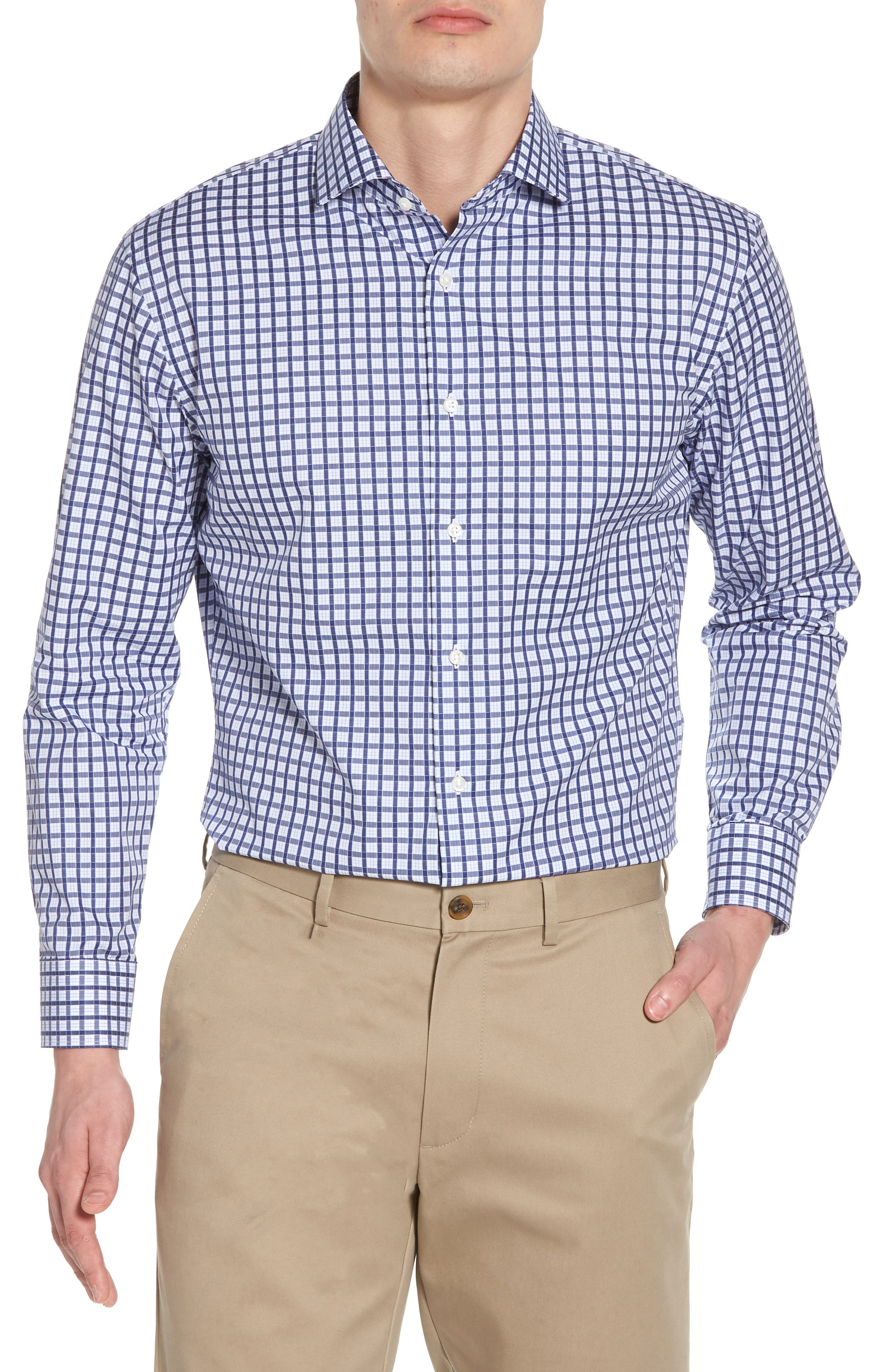 Trim Fit Check Dress Shirt,                             Main thumbnail 1, color,                             Navy Ribbon