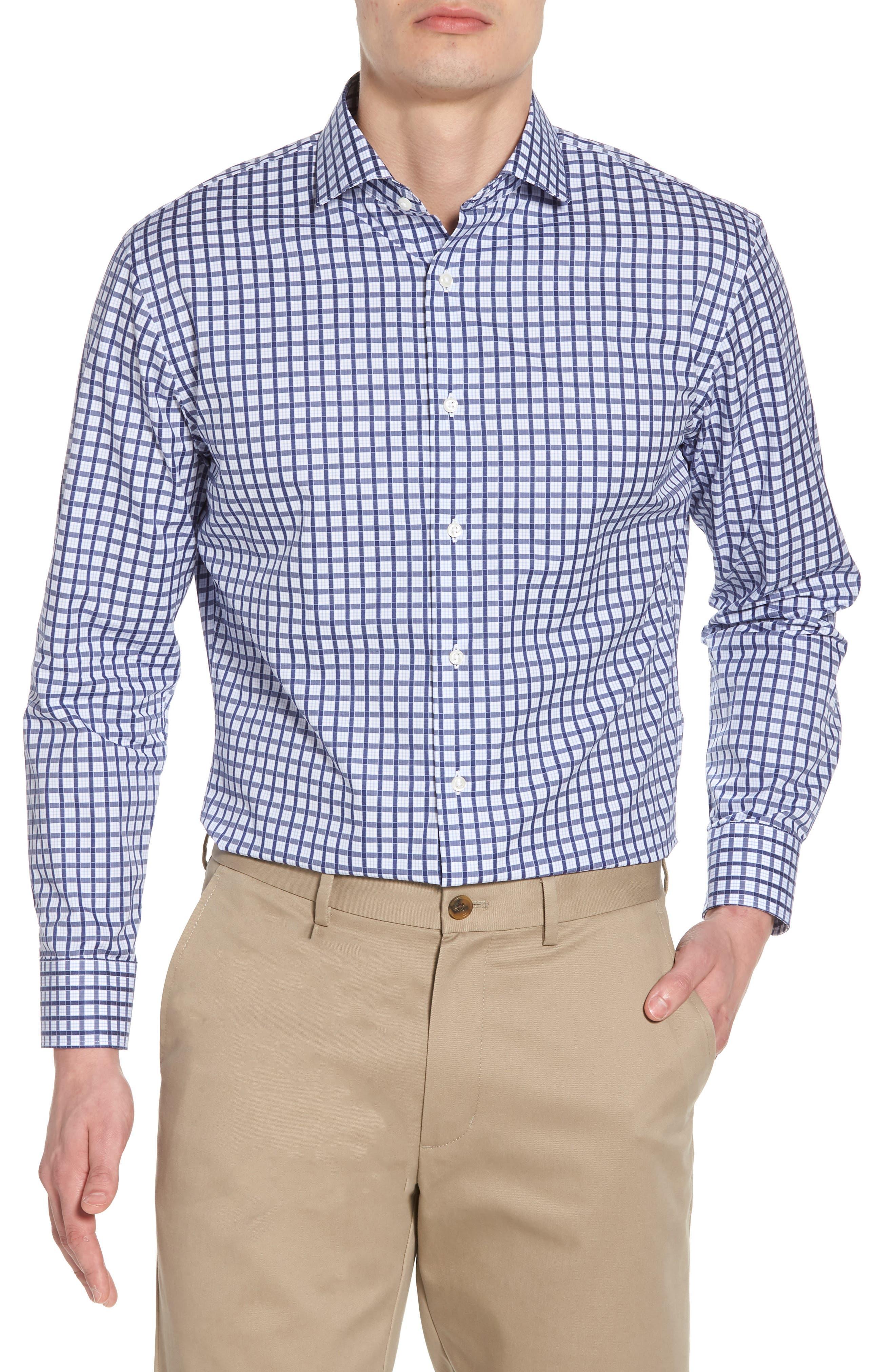 Trim Fit Check Dress Shirt,                         Main,                         color, Navy Ribbon
