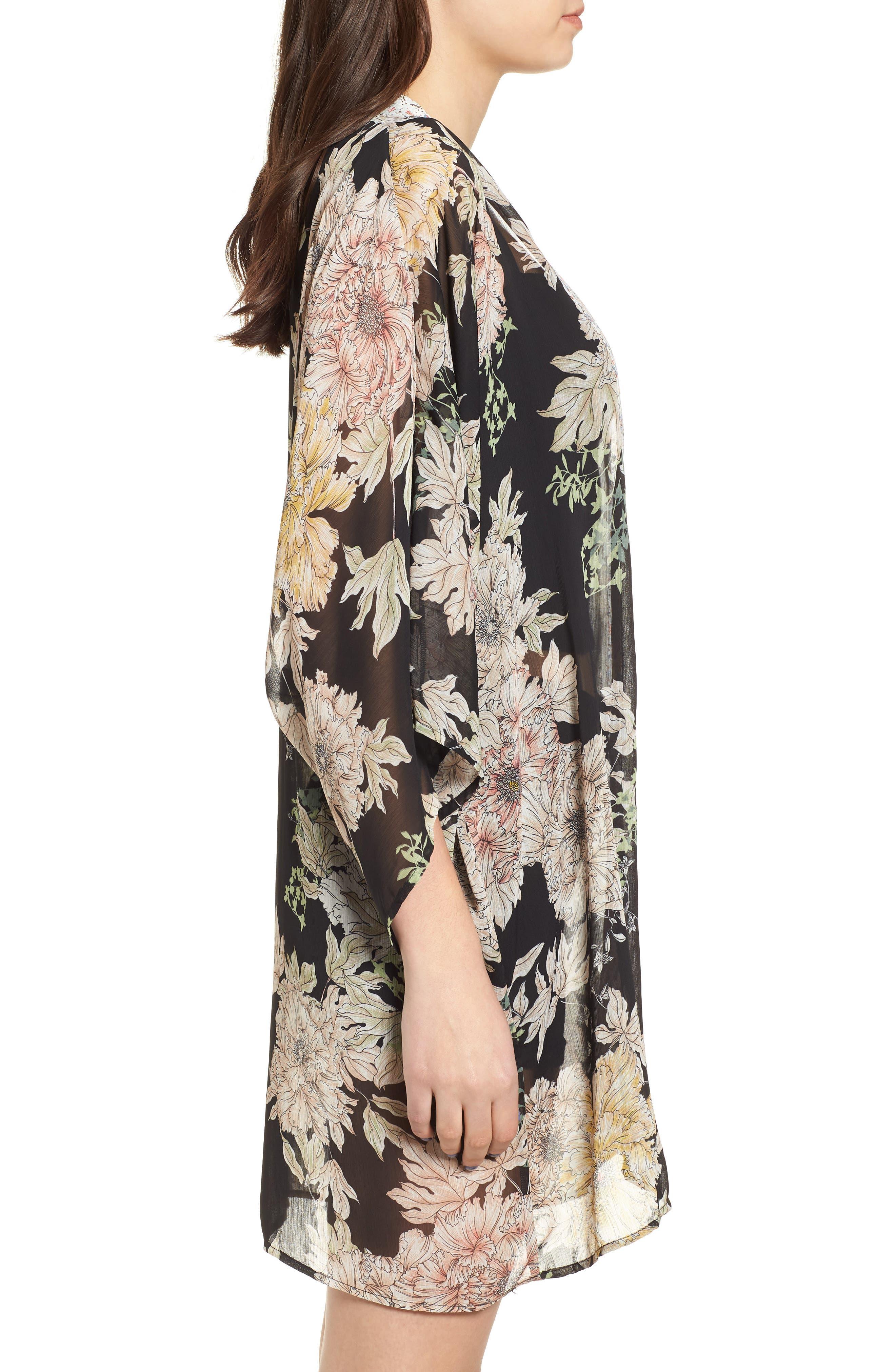 Floral Print Kimono,                             Alternate thumbnail 3, color,                             Black Gold Pink
