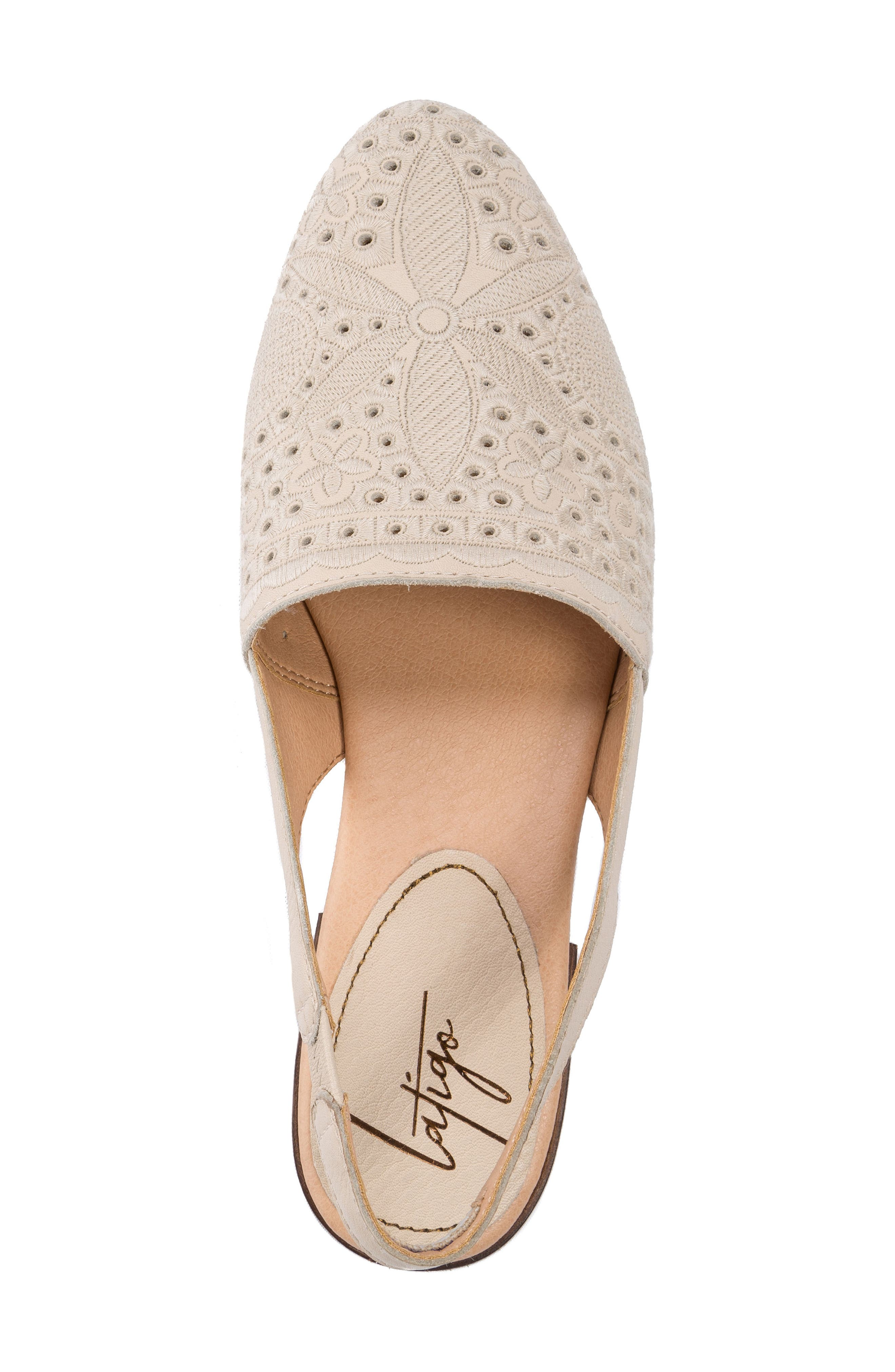 Ulu Embroidered Slingback Flat,                             Alternate thumbnail 5, color,                             Champagne