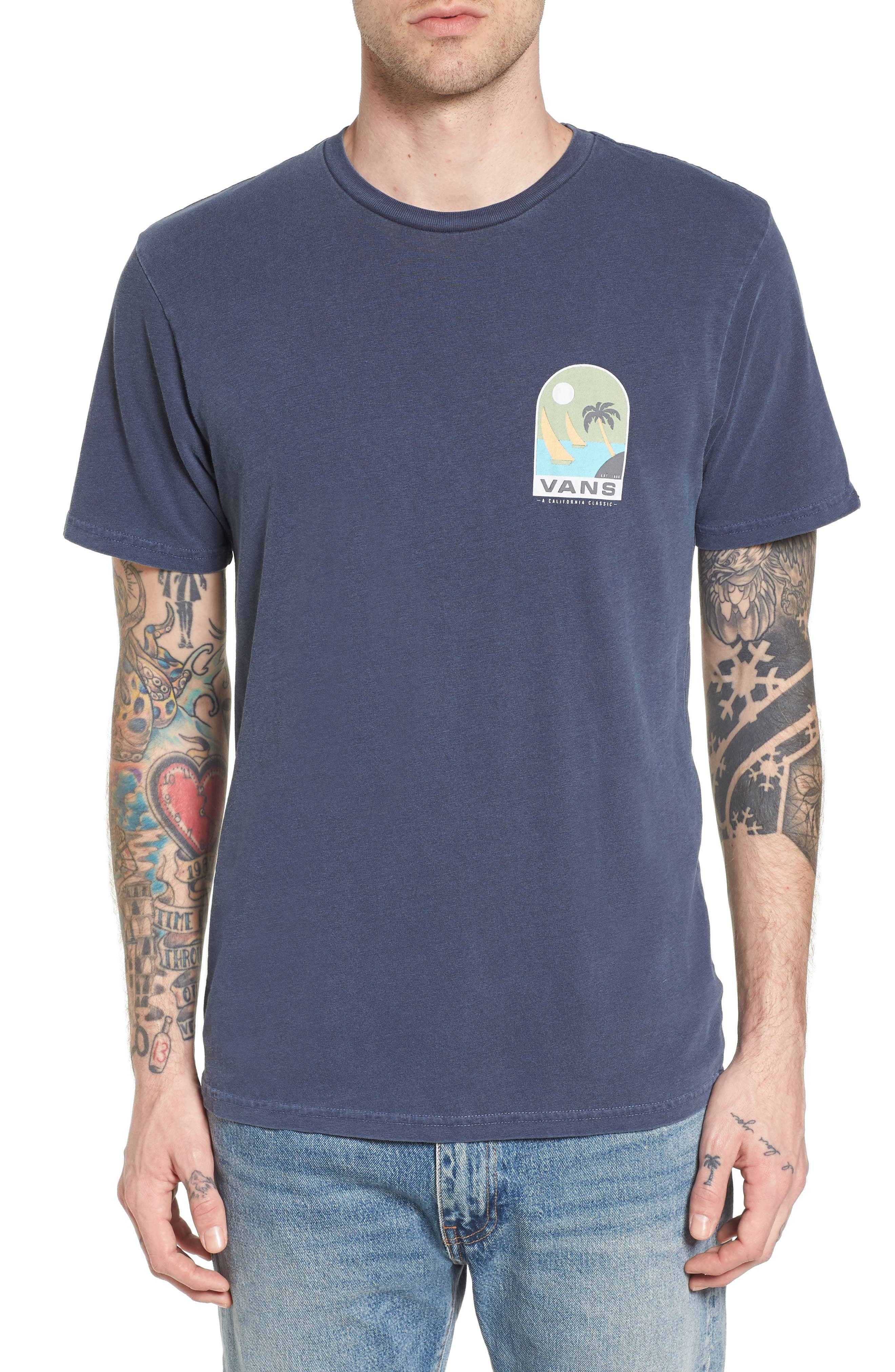Open Sail Graphic T-Shirt,                             Main thumbnail 1, color,                             Dress Blues