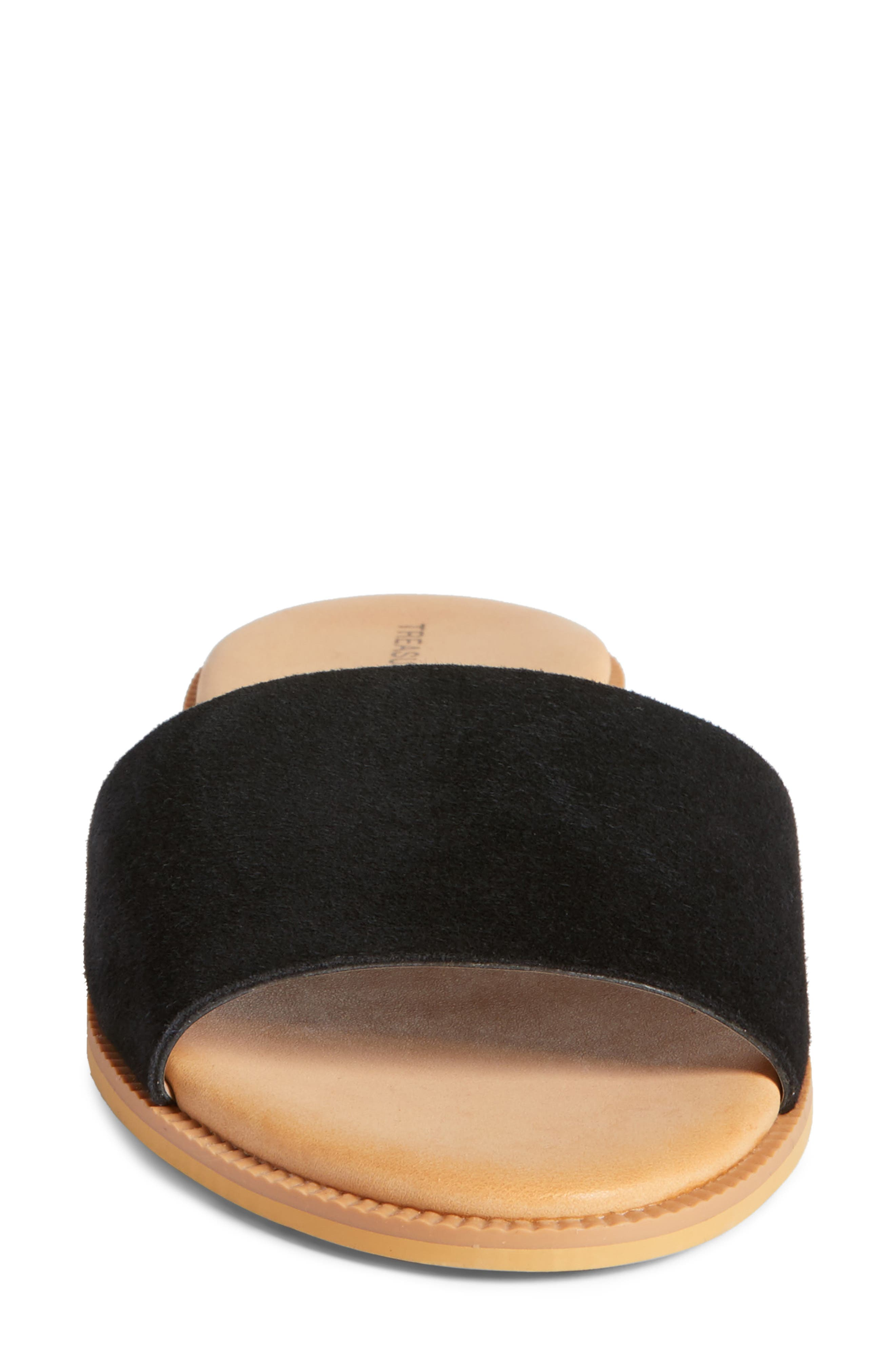 Mere Flat Slide Sandal,                             Alternate thumbnail 4, color,                             Black Suede