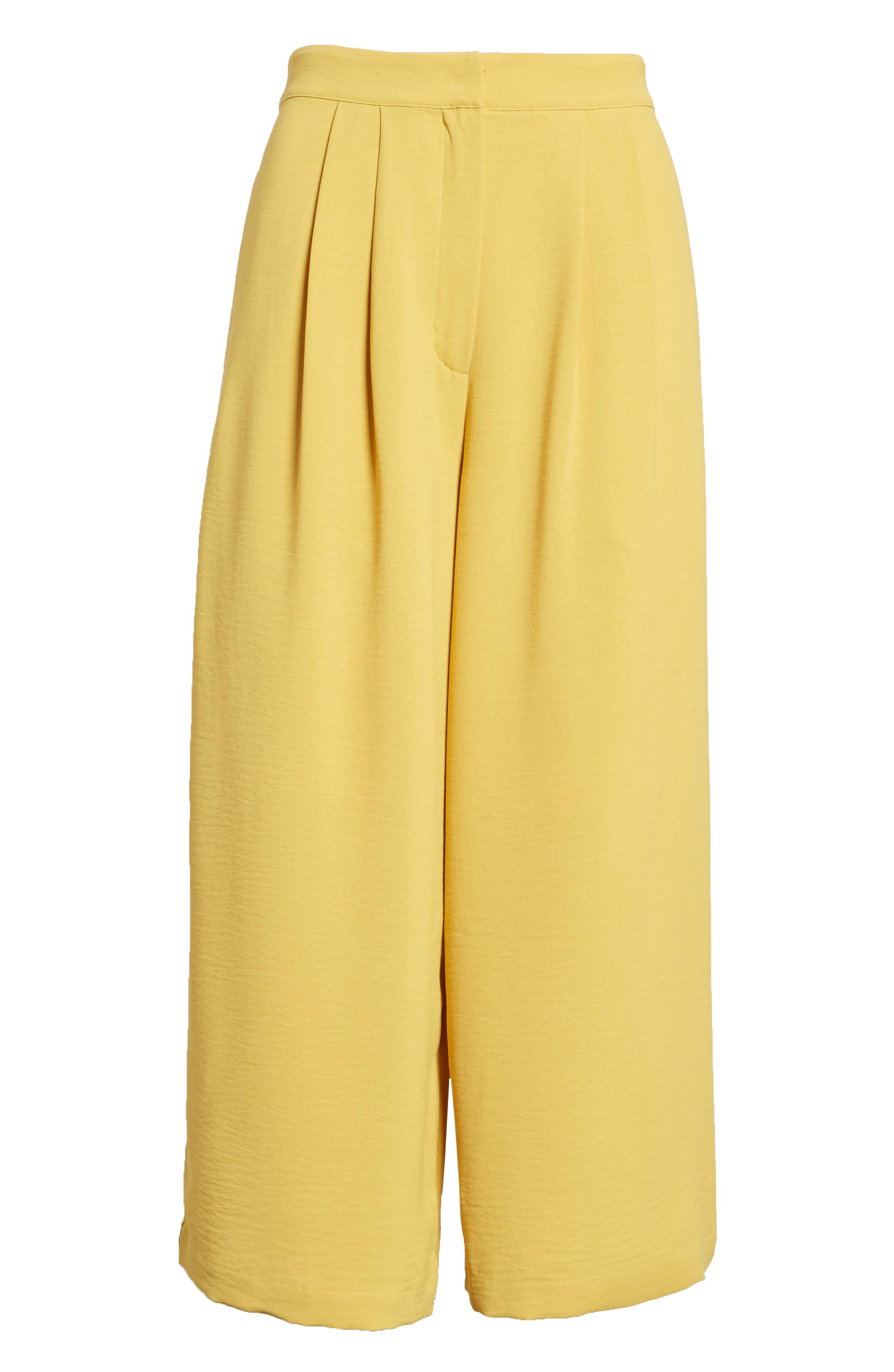 Chriselle x J.O.A. Pleat High Waist Crop Wide Leg Pants,                             Alternate thumbnail 8, color,                             Roman Gold
