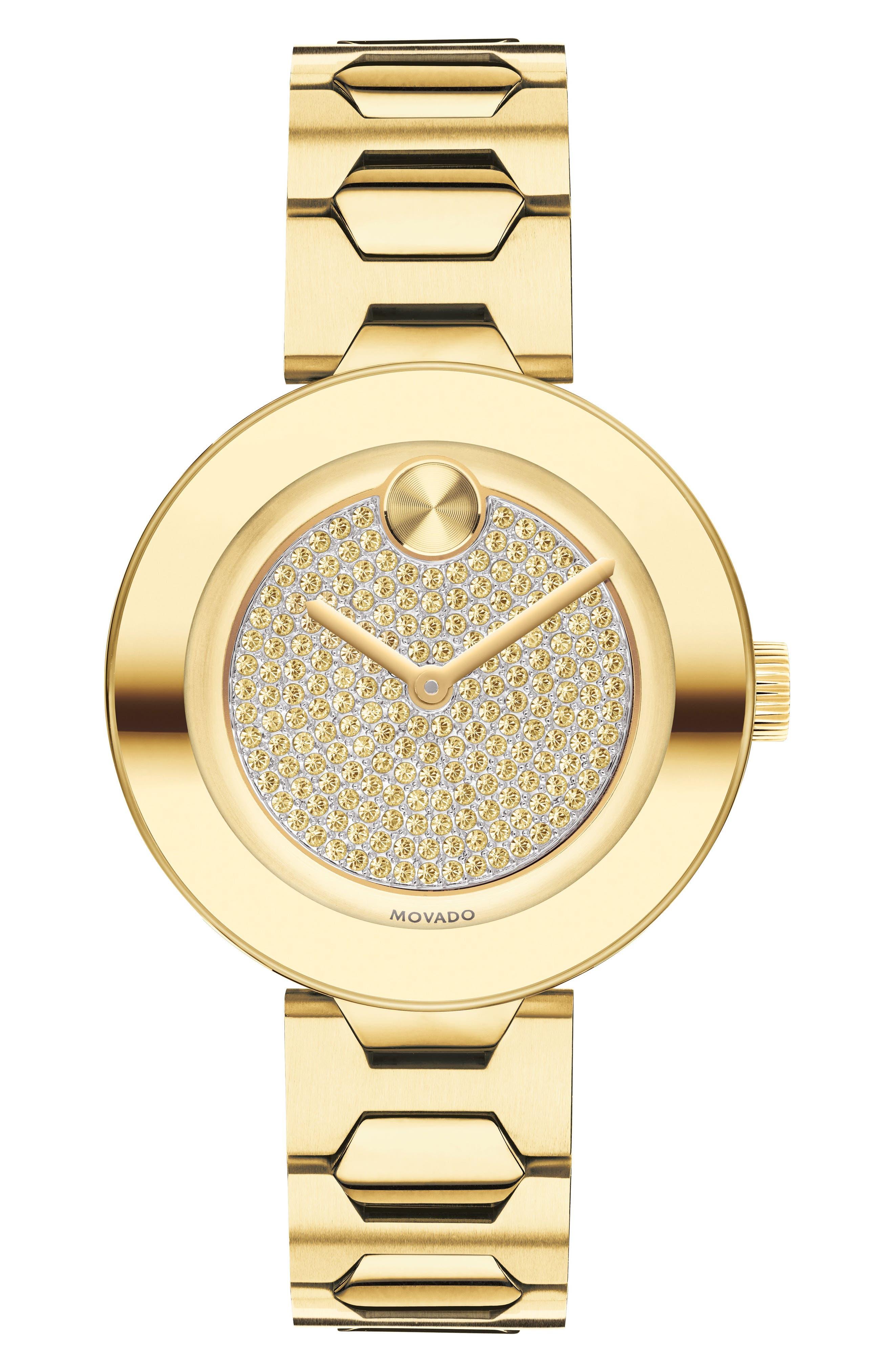 Bold Pavé T-Bar Bracelet Watch, 32mm,                         Main,                         color, Gold
