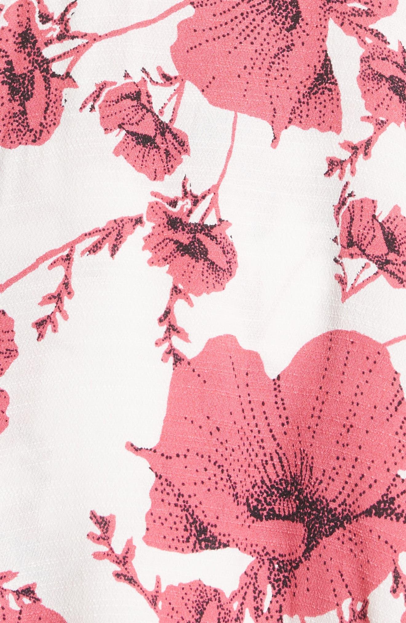 French Quarter Print Wrap Minidress,                             Alternate thumbnail 4, color,                             Ivory