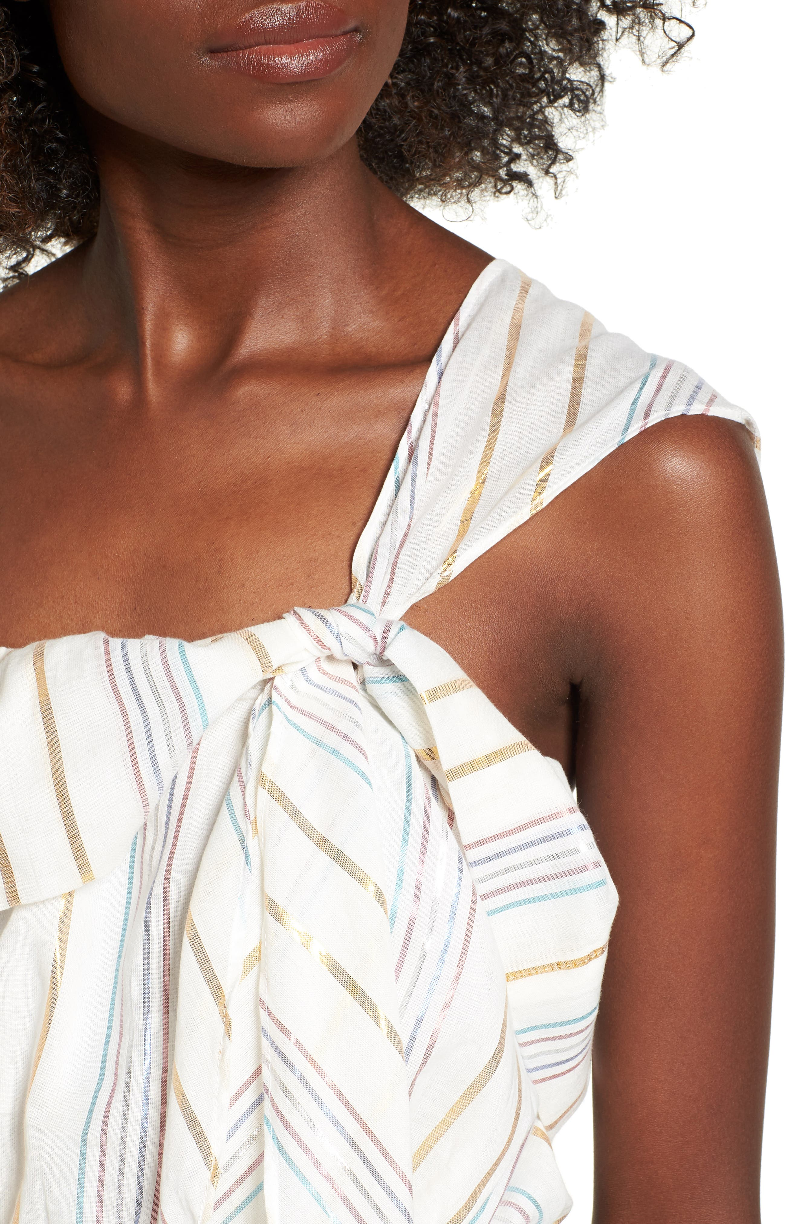 Vanessa One-Shoulder Crop Top,                             Alternate thumbnail 4, color,                             Marshmallow
