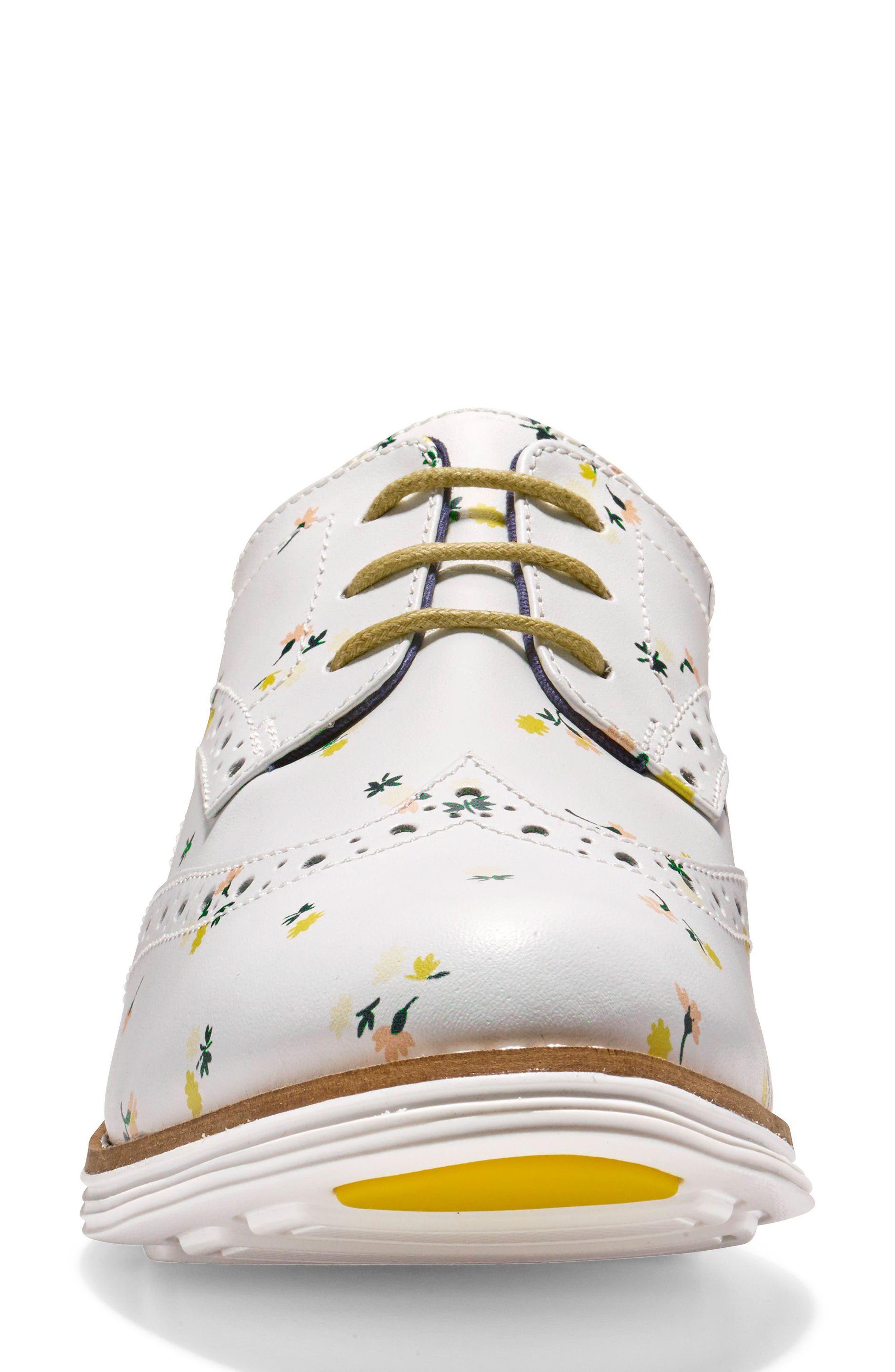 'Original Grand' Wingtip Oxford,                             Alternate thumbnail 4, color,                             Optic White Printed Leather