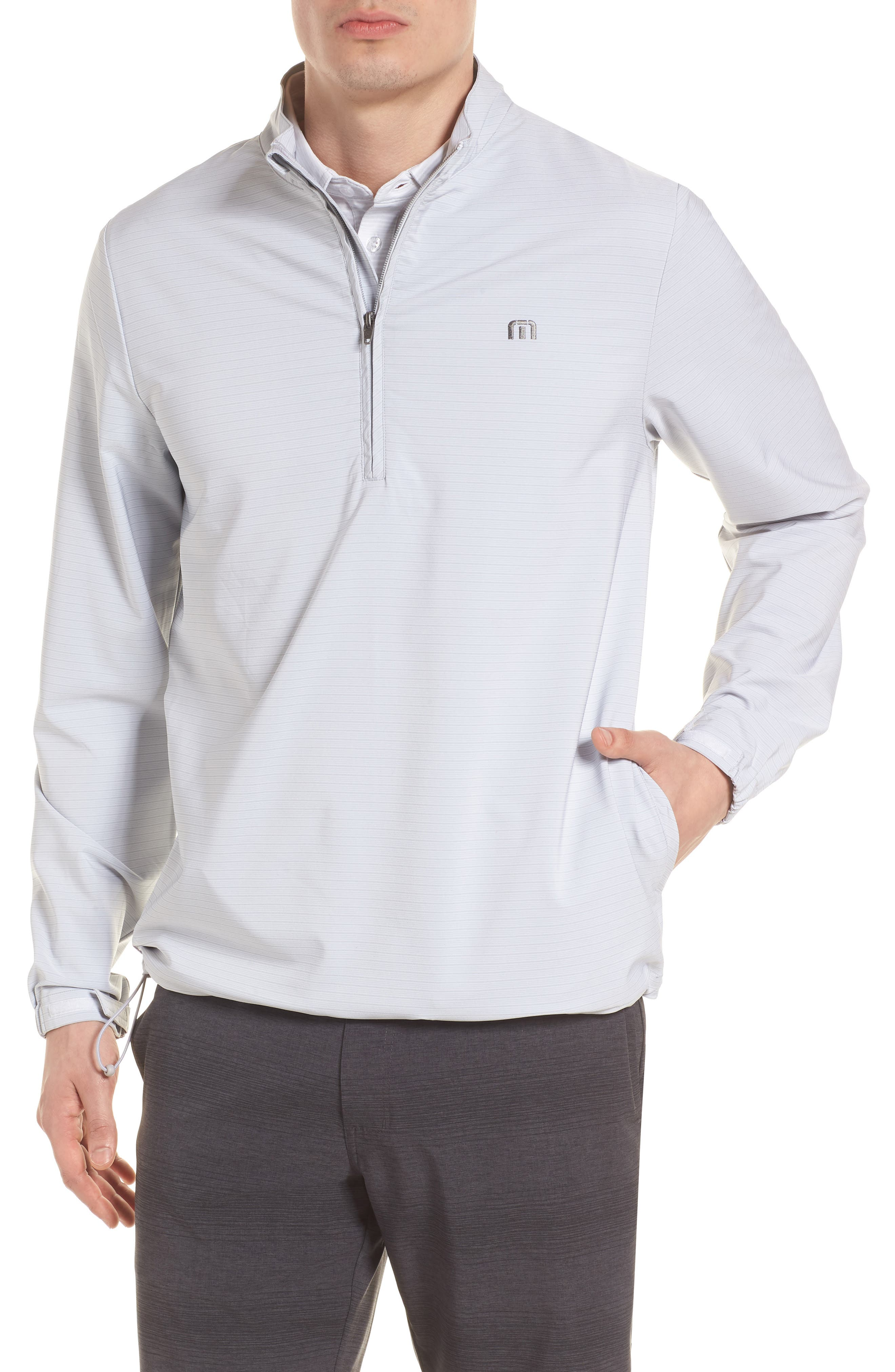 Luca Quarter Zip Pullover,                             Main thumbnail 1, color,                             Micro Chip/ White