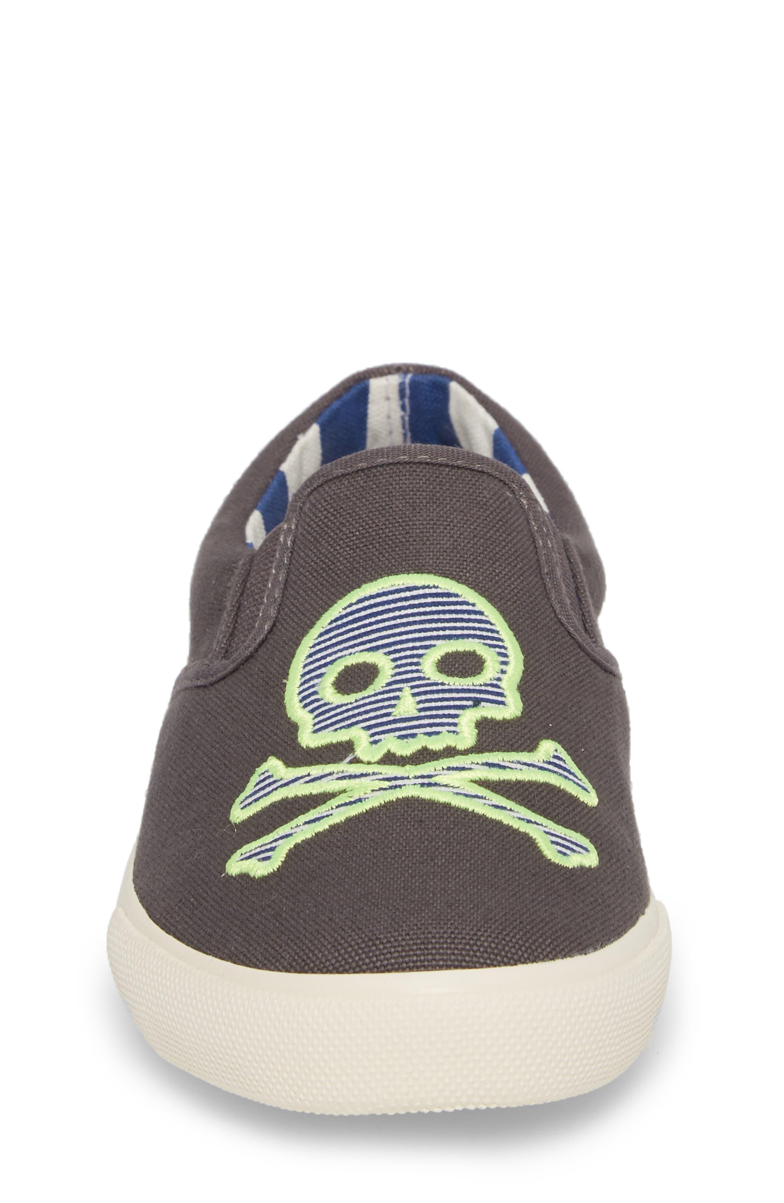 Embroidered Slip-On Sneaker,                             Alternate thumbnail 4, color,                             Shark Grey