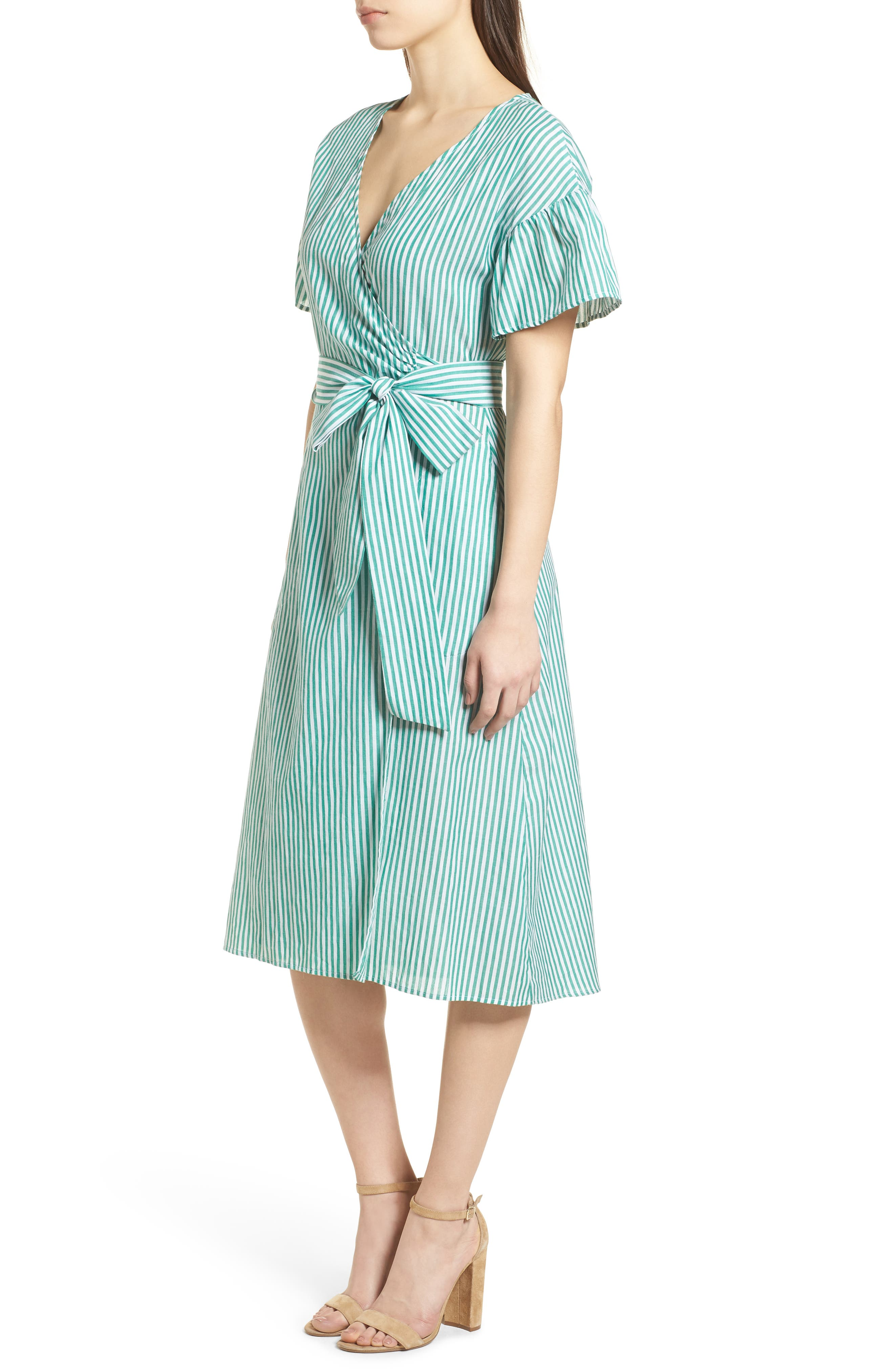 Stripe Cotton Wrap Dress,                             Alternate thumbnail 4, color,                             Green