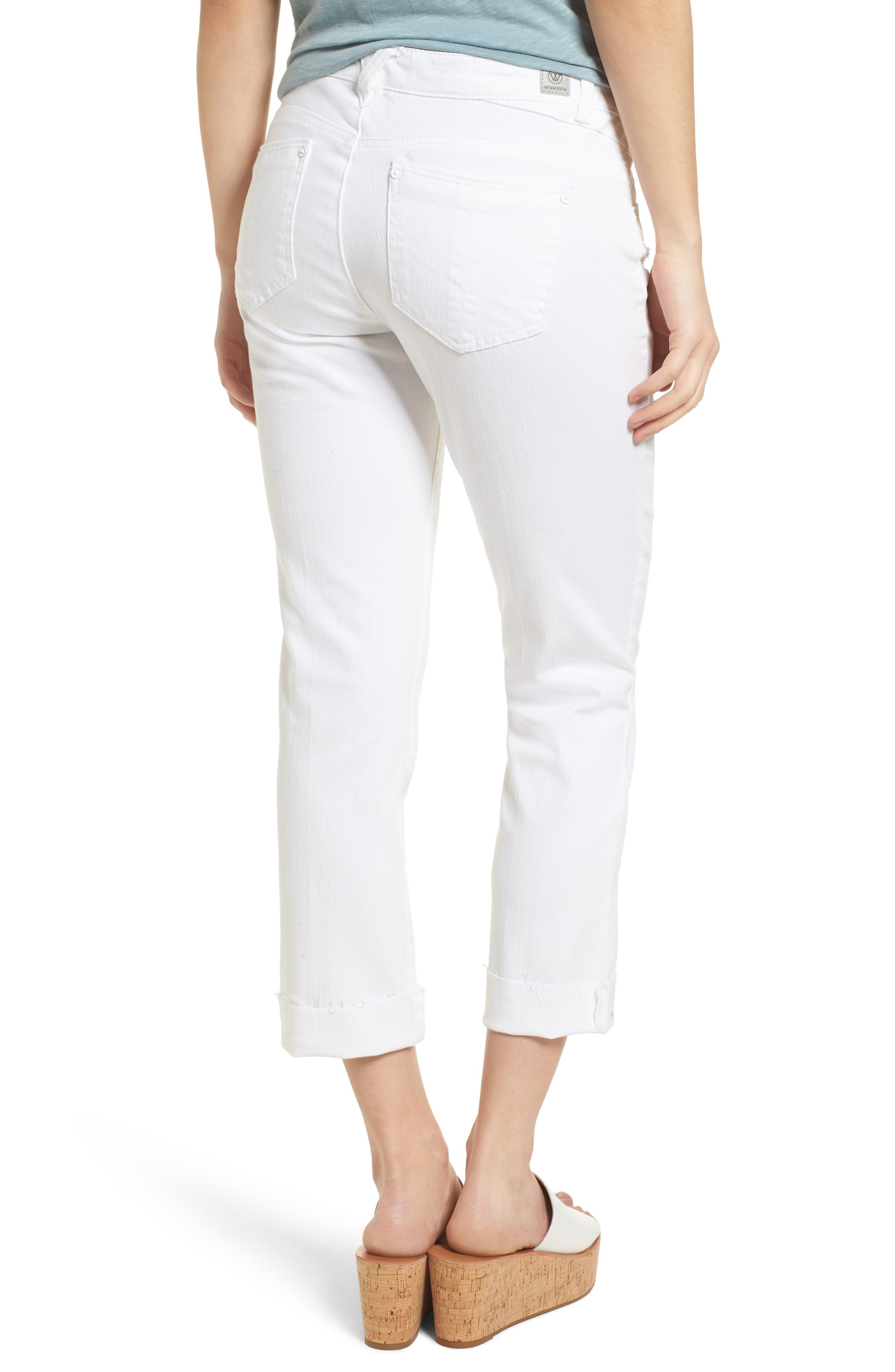 Flex-ellent Cuffed Boyfriend Jeans,                             Alternate thumbnail 2, color,                             Optic White