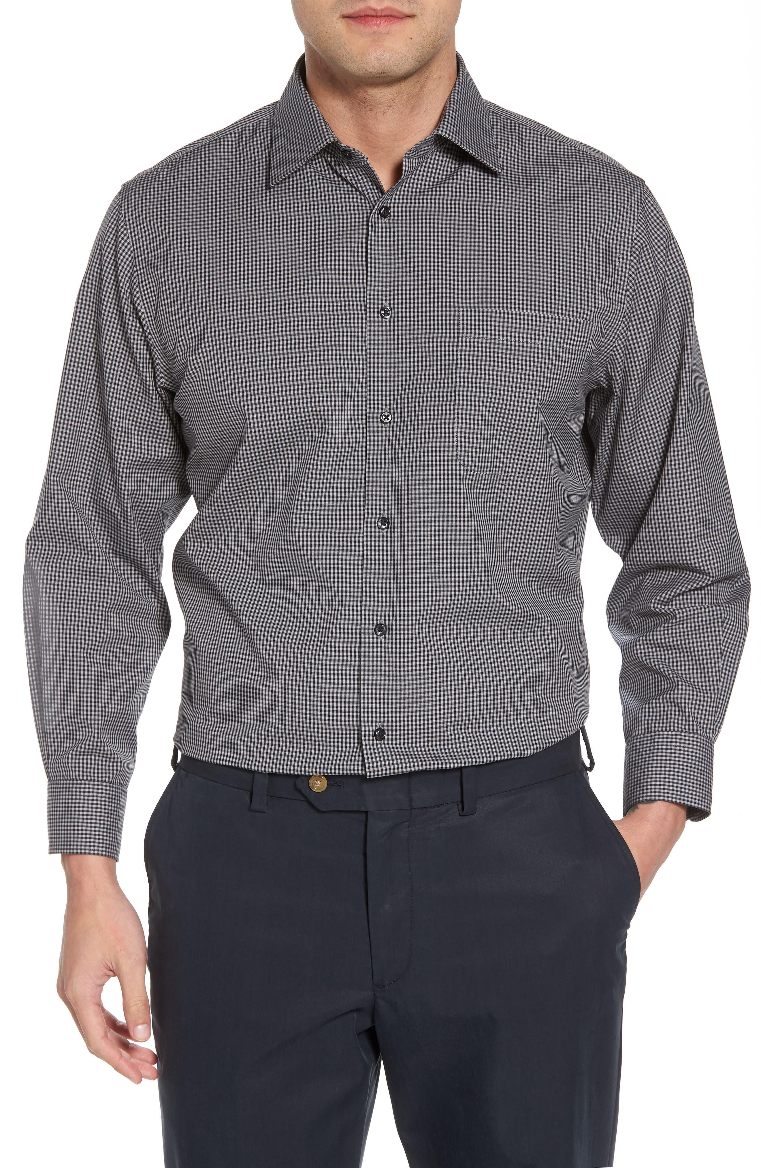 Smartcare<sup>™</sup> Traditional Fit Check Dress Shirt,                             Main thumbnail 1, color,                             Black Rock