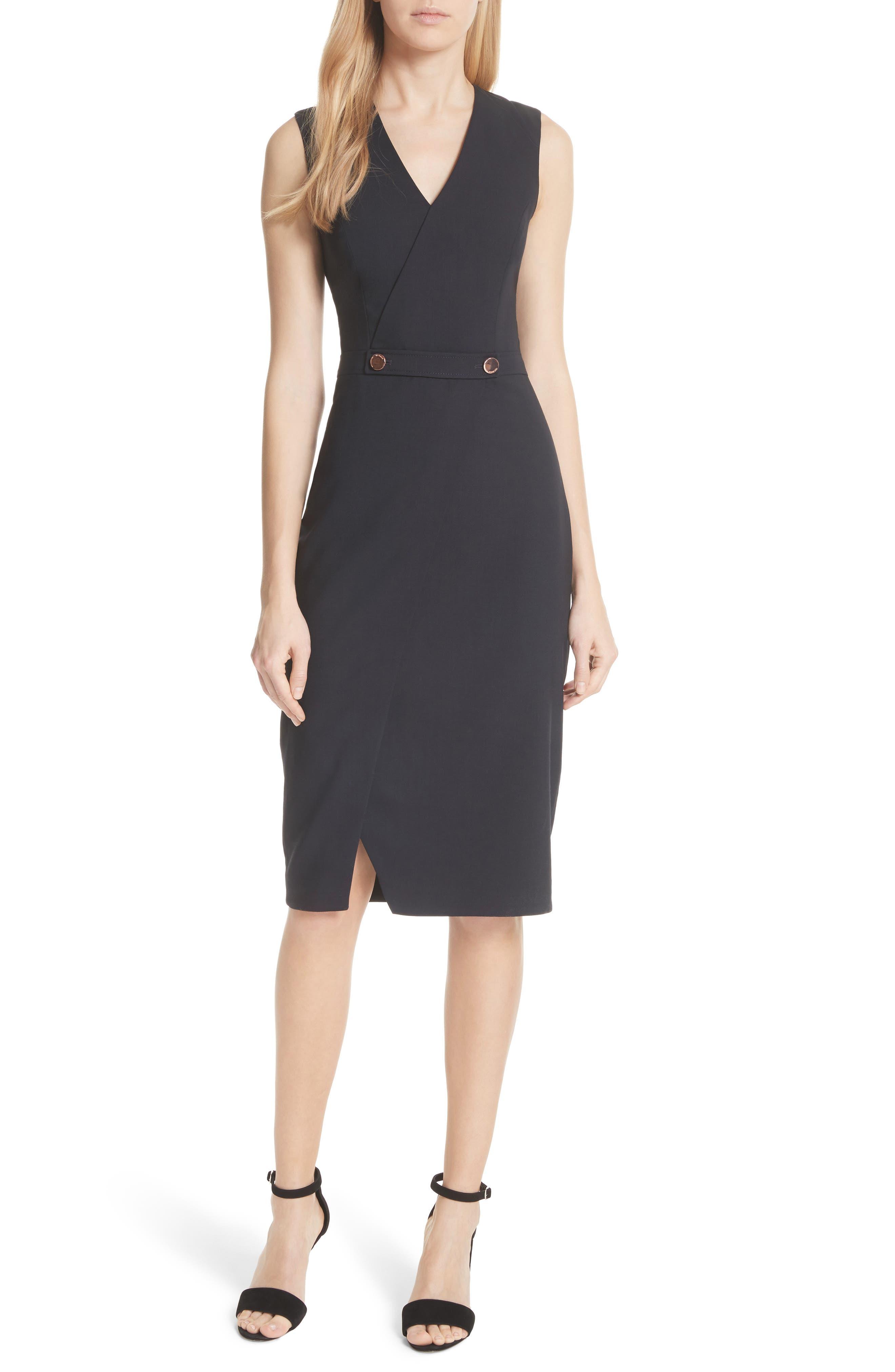 Faux Wrap Dress,                         Main,                         color, Navy