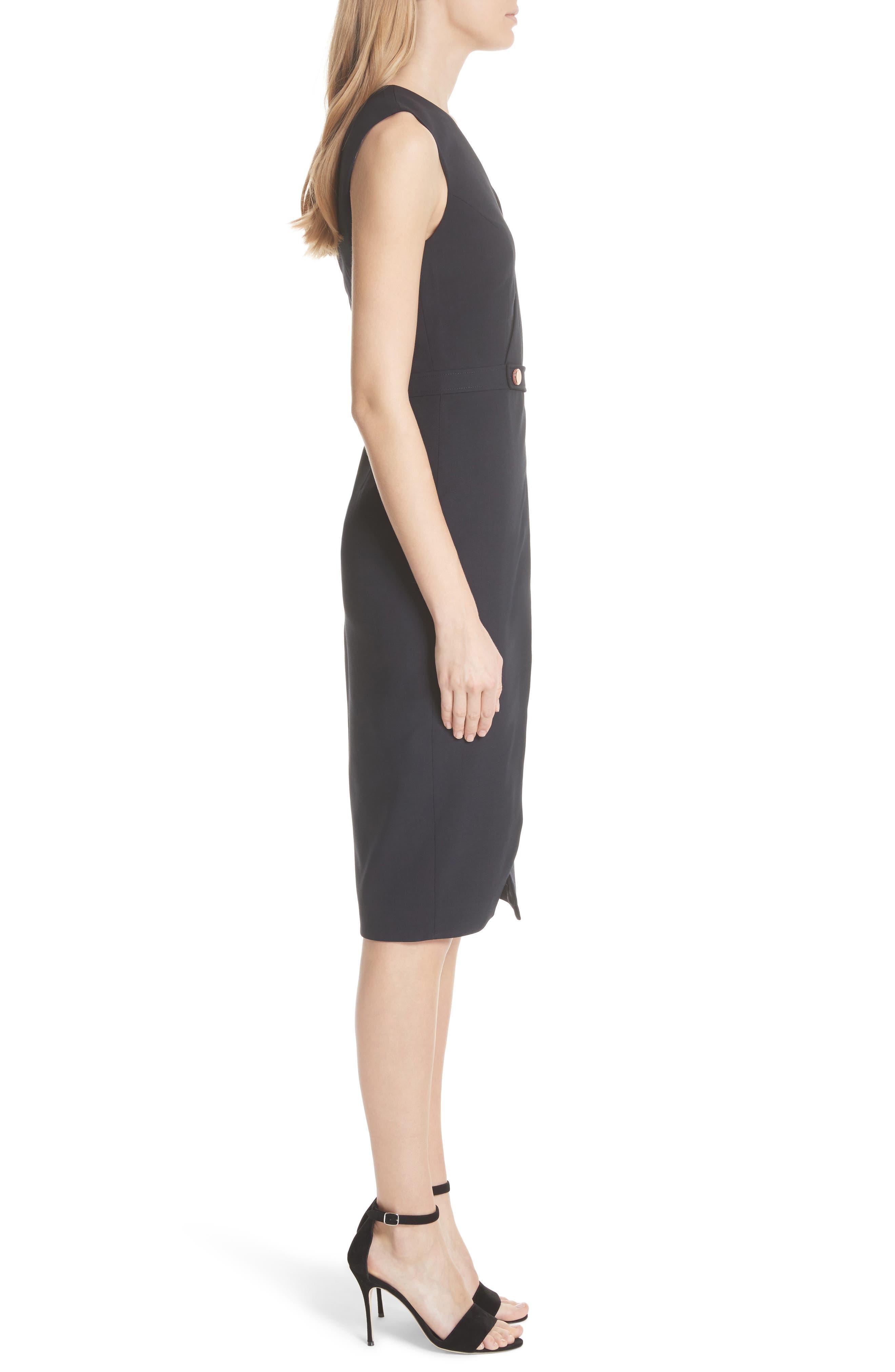 Faux Wrap Dress,                             Alternate thumbnail 3, color,                             Navy