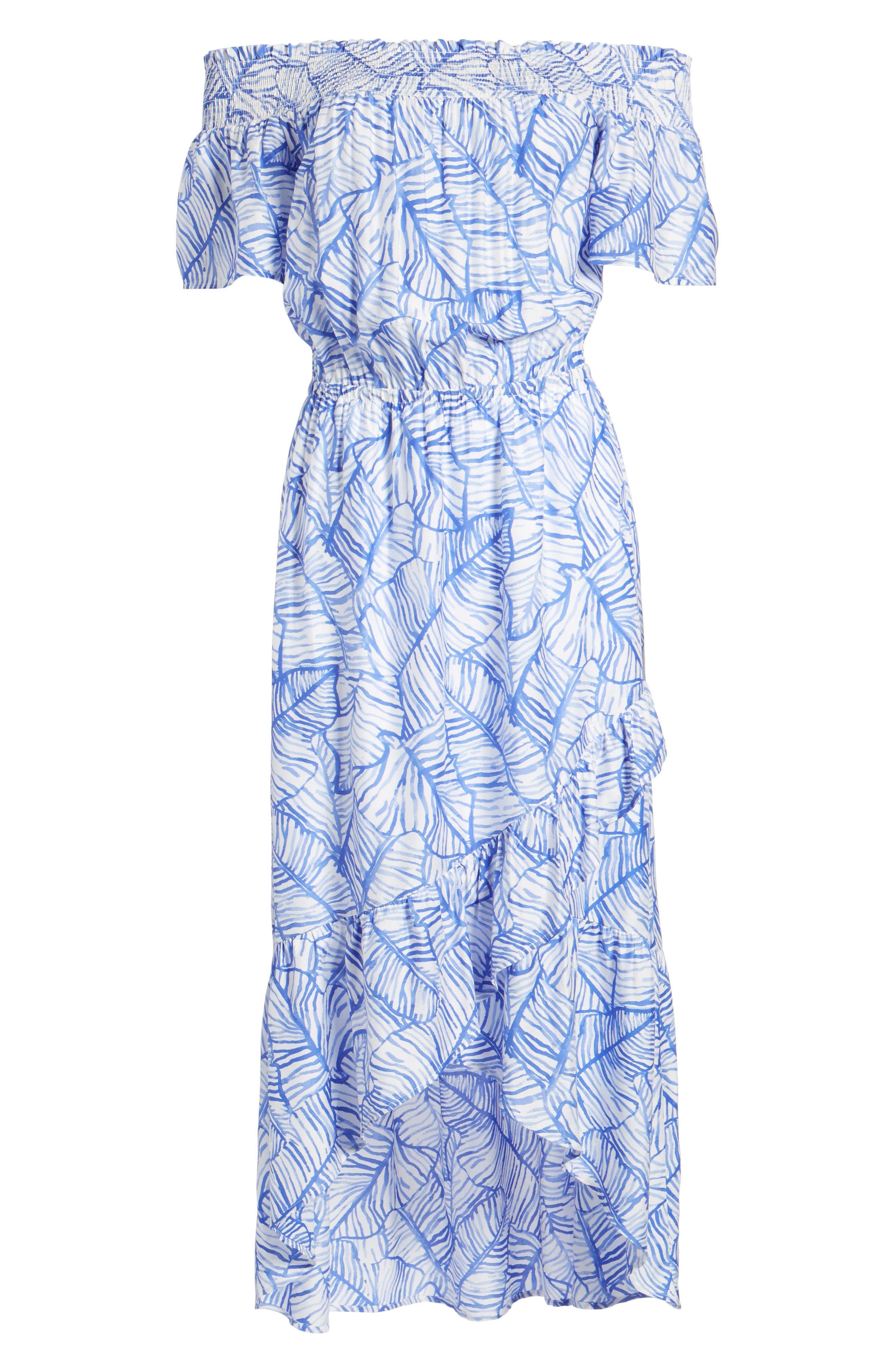 Banana Leaf High/Low Maxi Dress,                             Alternate thumbnail 6, color,                             Marlin