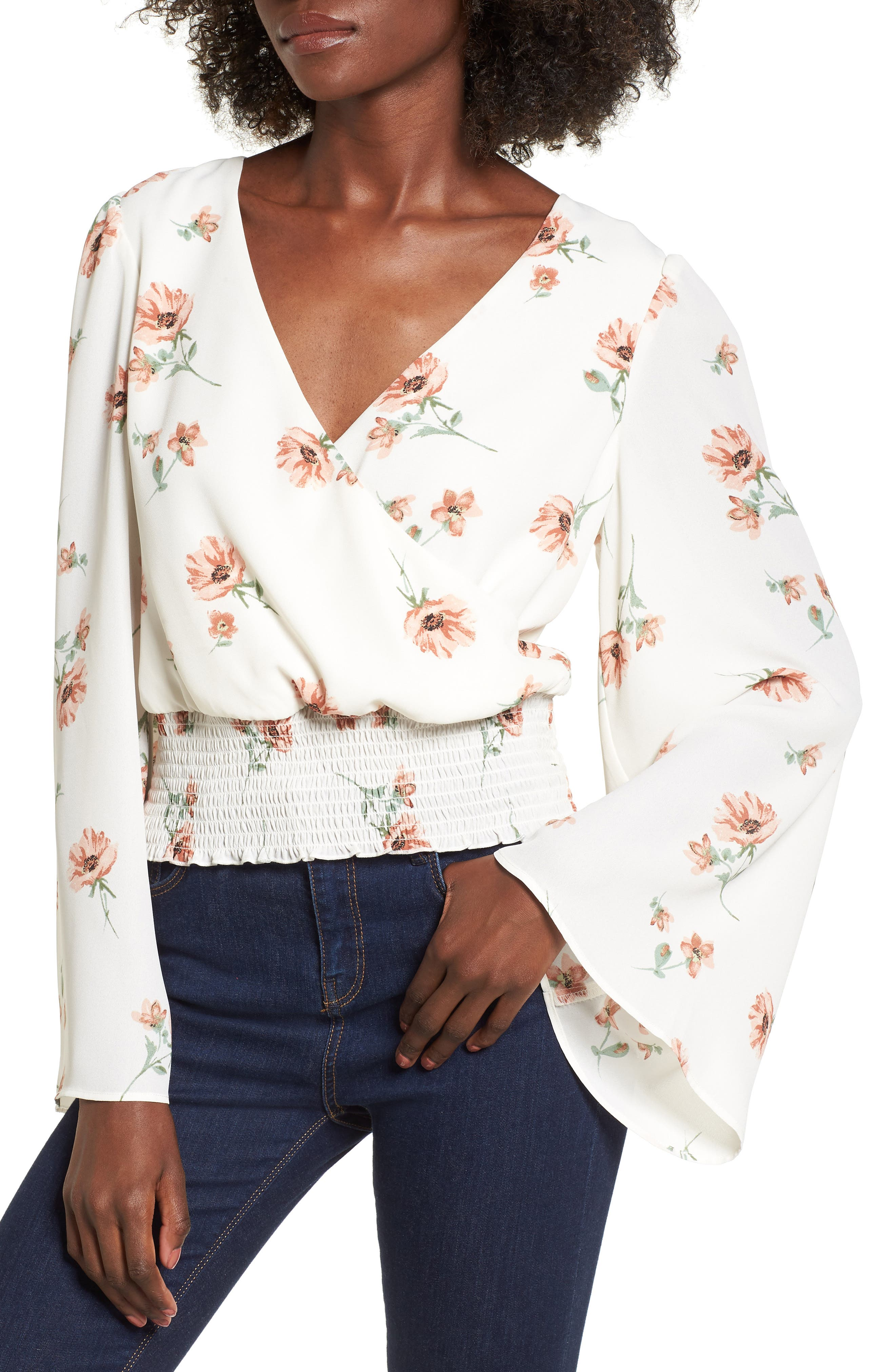 Flare Sleeve Top,                         Main,                         color, Ivory/ Blush/ Sage