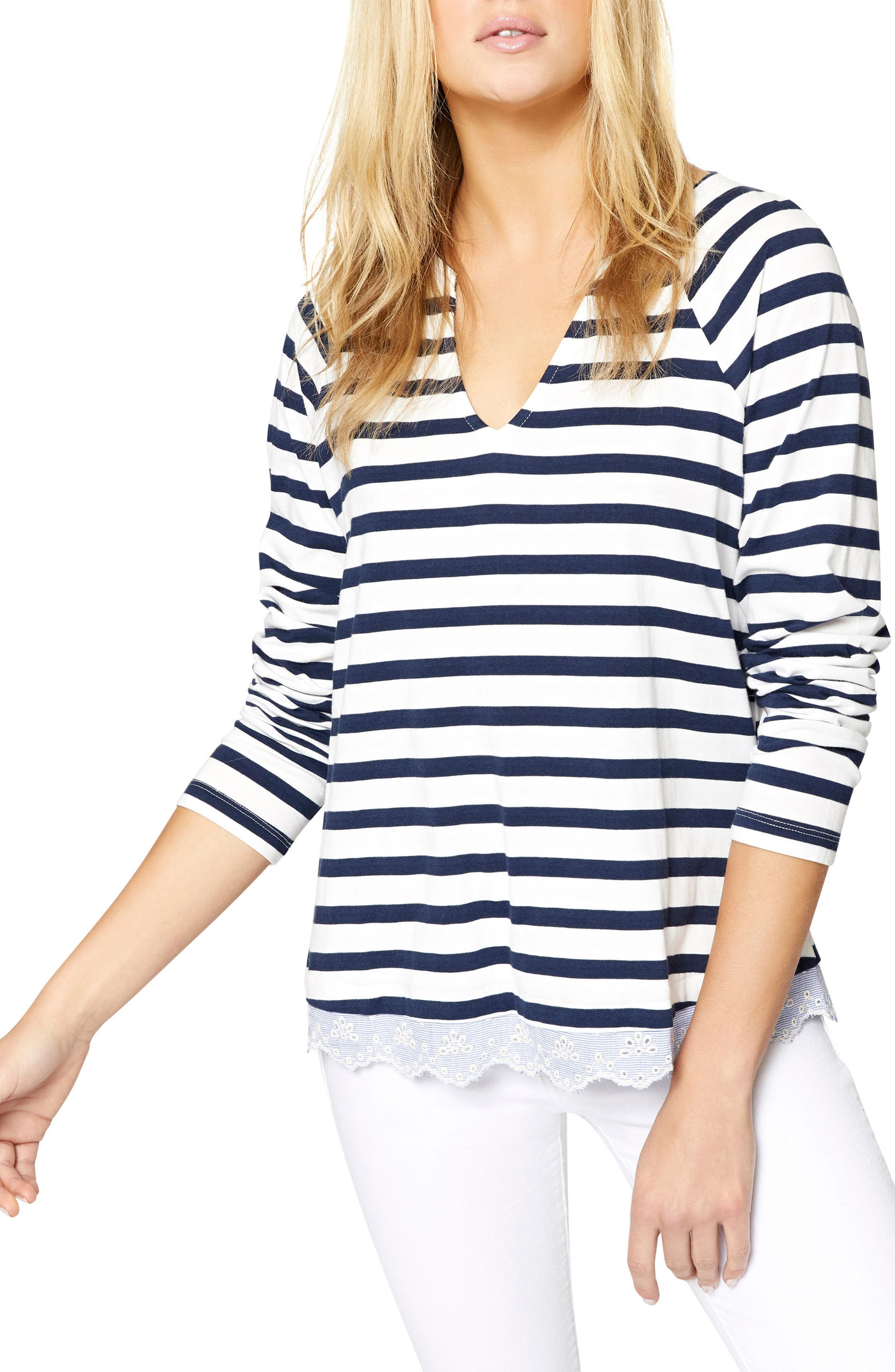Stripe Eyelet Contrast Top,                             Main thumbnail 1, color,                             Blue Jay/ White
