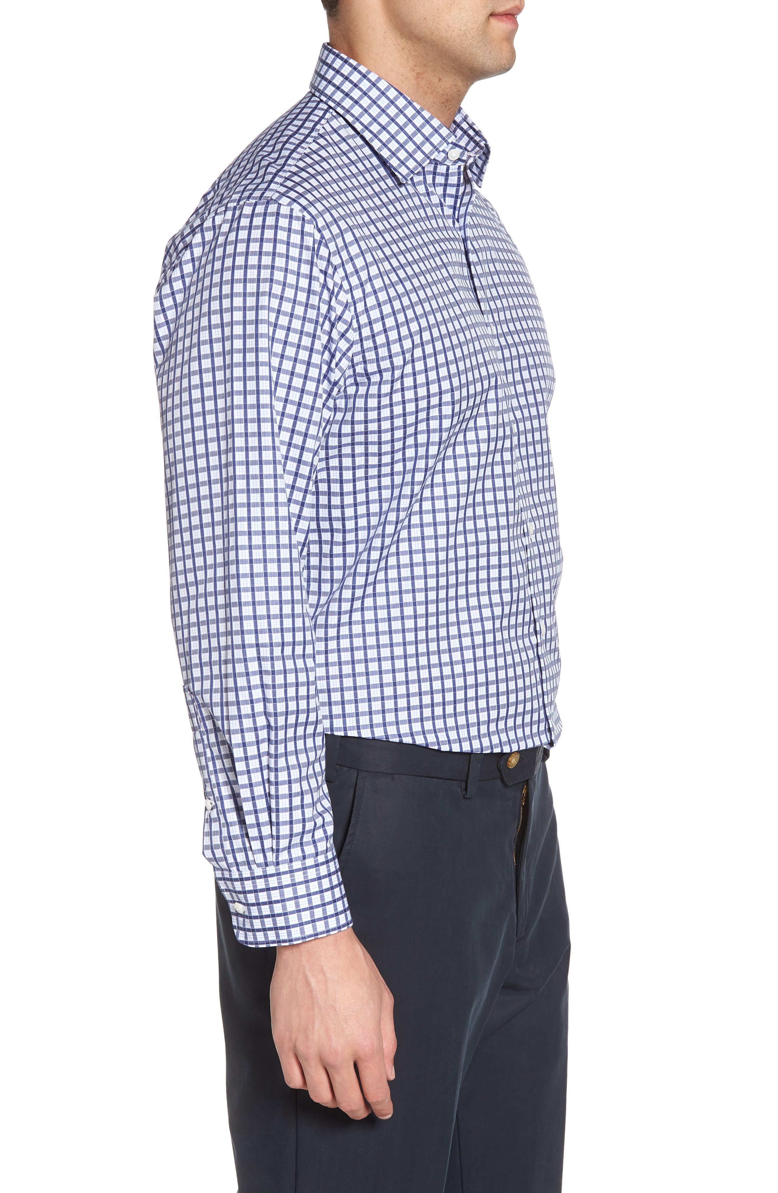 Traditional Fit Check Dress Shirt,                             Alternate thumbnail 4, color,                             Navy Ribbon
