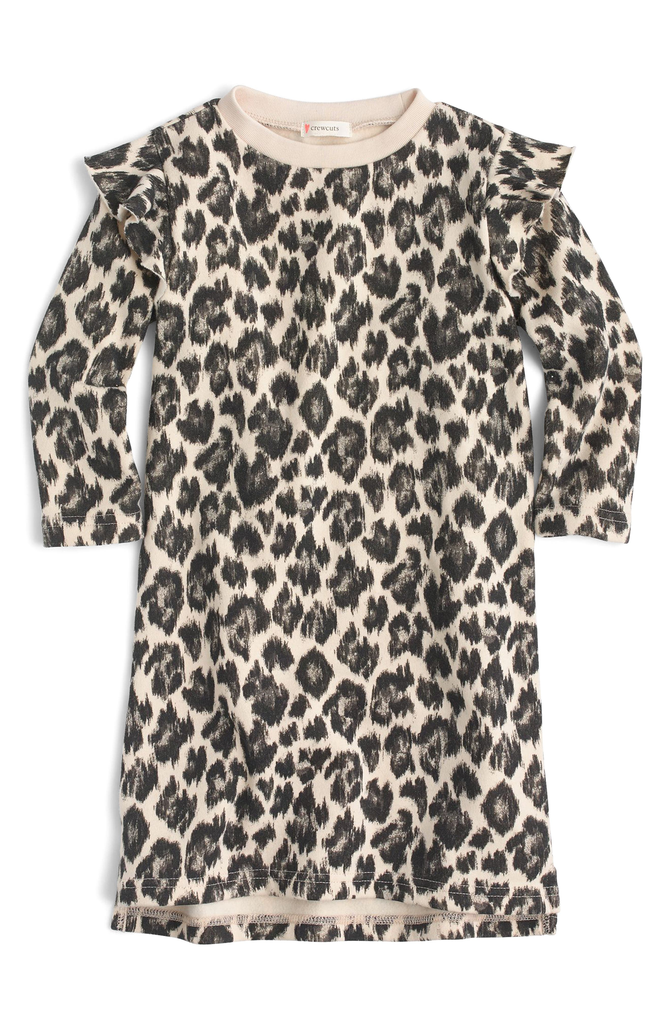 Ruffle Trimmed Leopard Print Long Sleeve Dress,                         Main,                         color, Natural Black