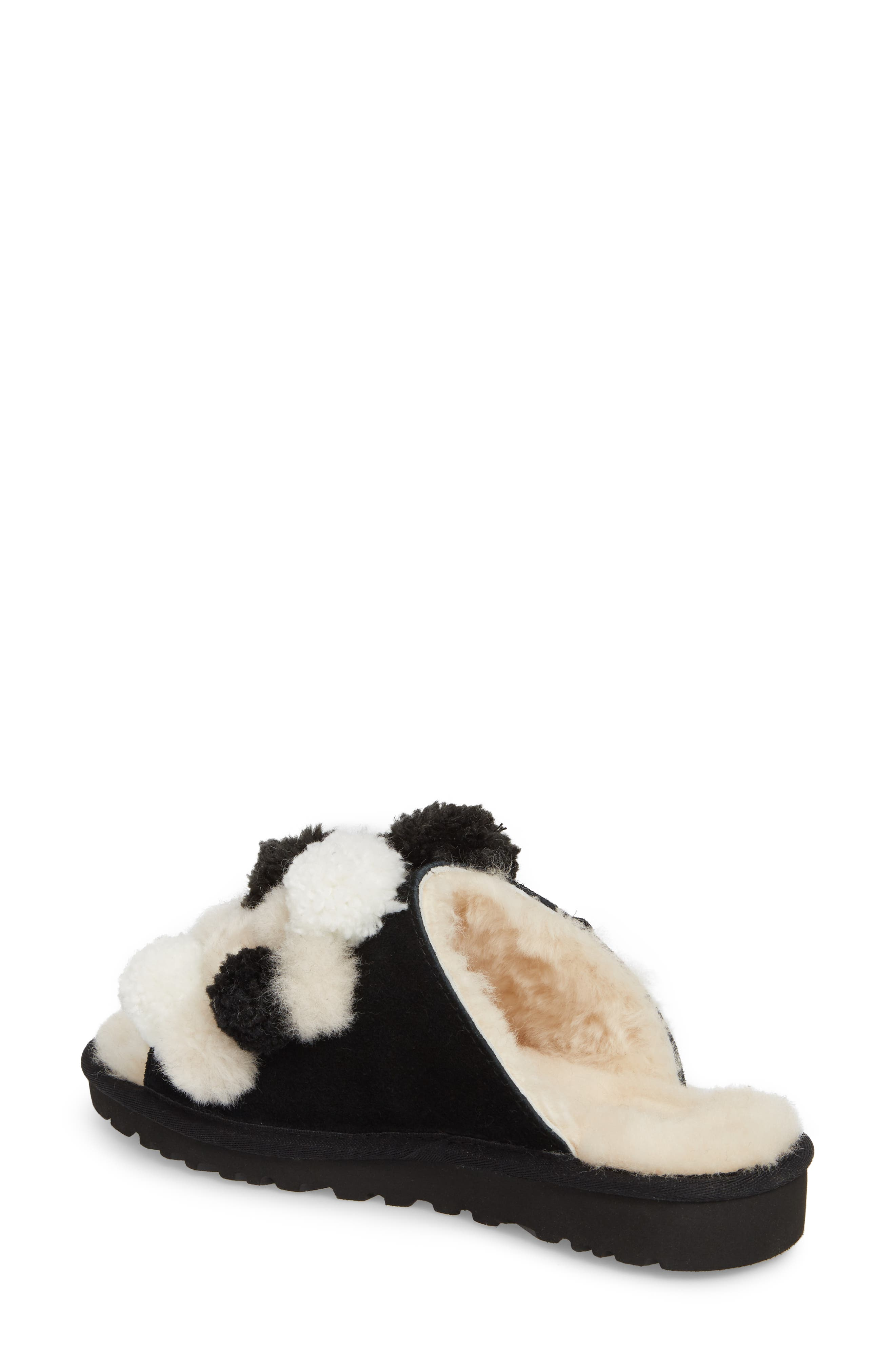 Clio Pom Pom Slide Sandal,                             Alternate thumbnail 2, color,                             Black Suede