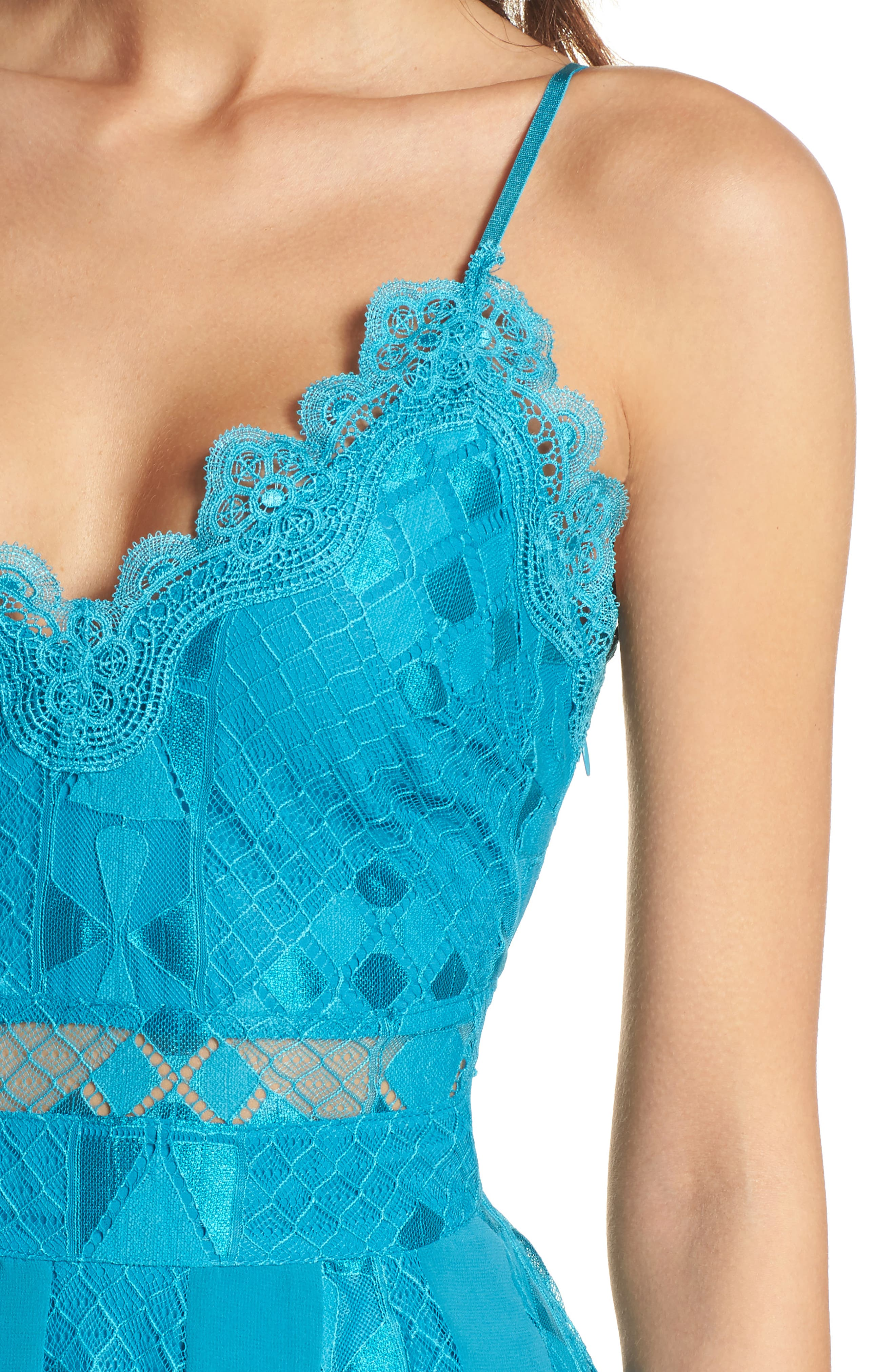 Calla Geometric Lace Dress,                             Alternate thumbnail 4, color,                             Light Blue