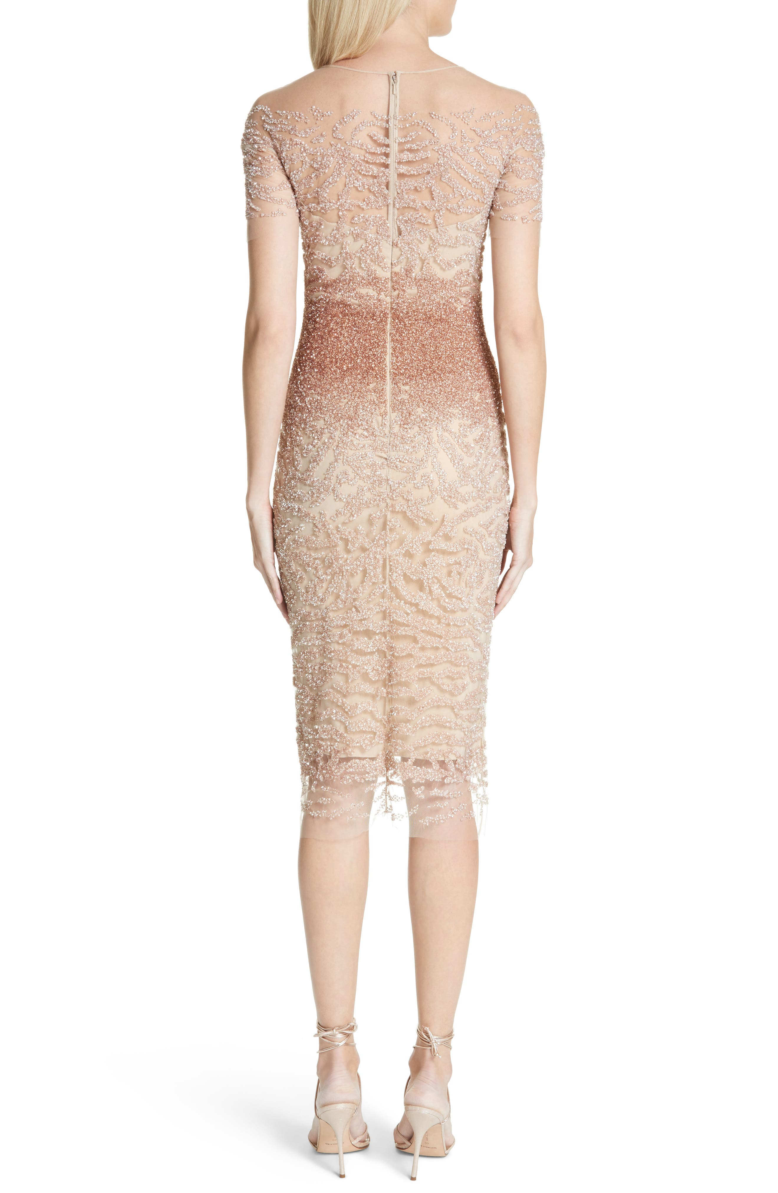 Beaded Illusion Dress,                             Alternate thumbnail 2, color,                             Gold/ Copper Ombre