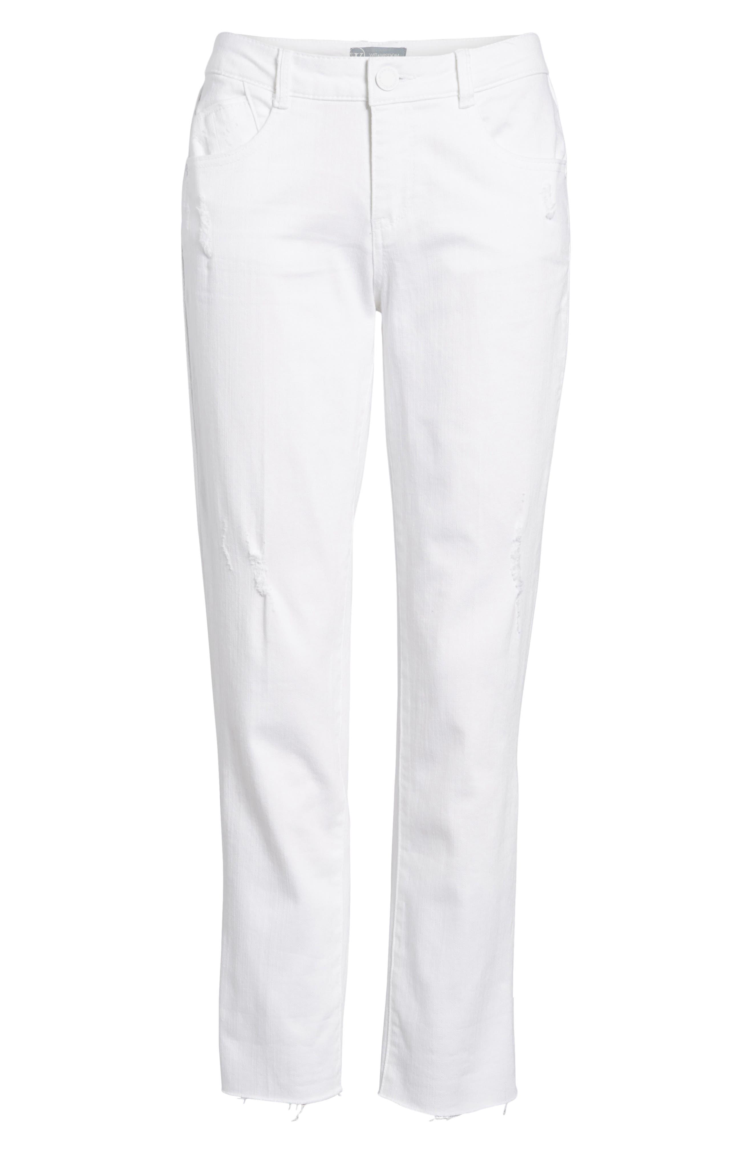 Flex-ellent Cuffed Boyfriend Jeans,                             Alternate thumbnail 7, color,                             Optic White