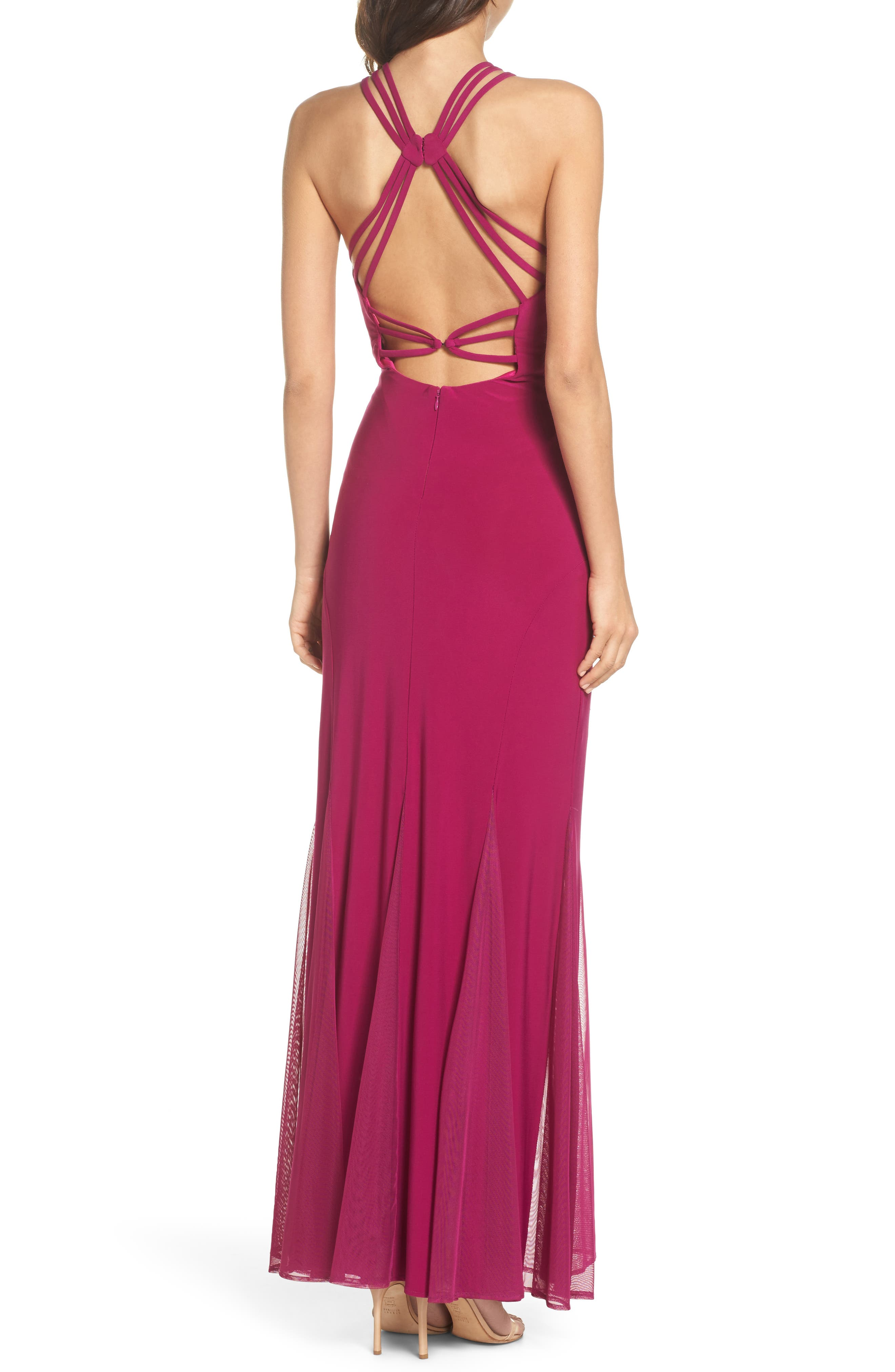 Strappy Back Trumpet Gown,                             Alternate thumbnail 2, color,                             Berry