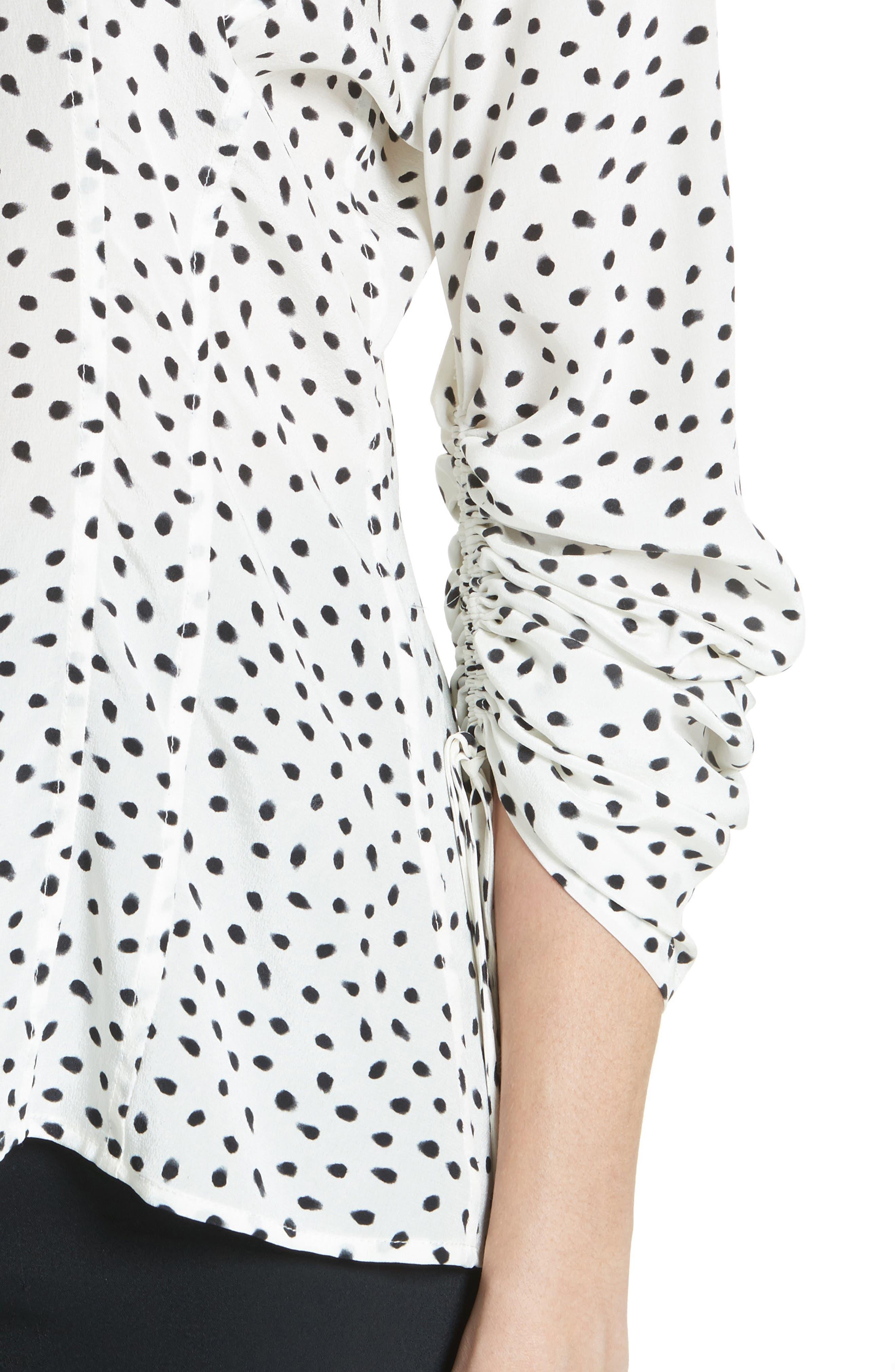Polka Dot Ruched Sleeve Silk Shirt,                             Alternate thumbnail 4, color,                             Chalk Black