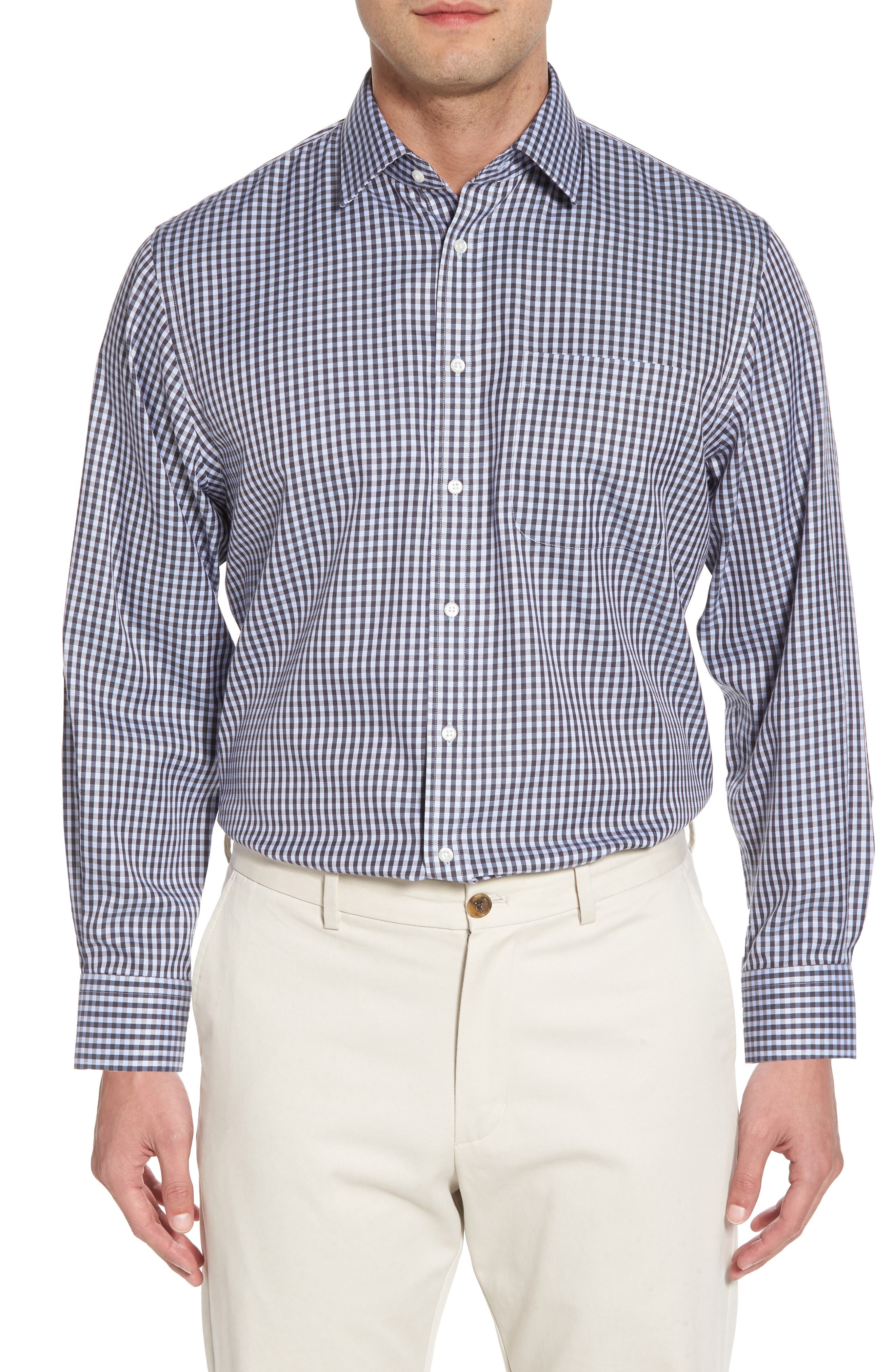 Smartcare<sup>™</sup> Traditional Fit Check Dress Shirt,                             Main thumbnail 1, color,                             Grey Stonehenge
