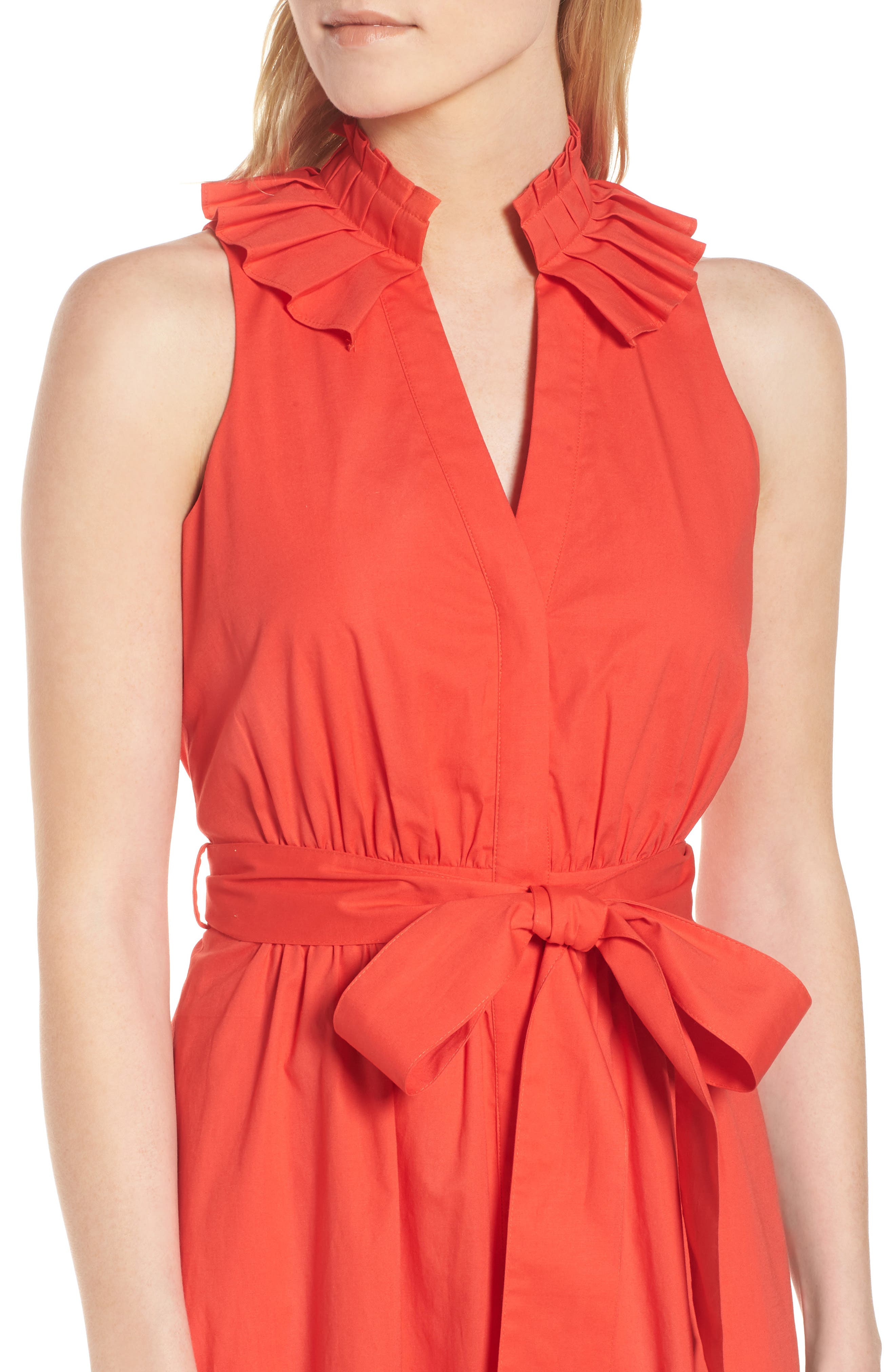 Pleat Collar Shirtdress,                             Alternate thumbnail 5, color,                             Red Bloom