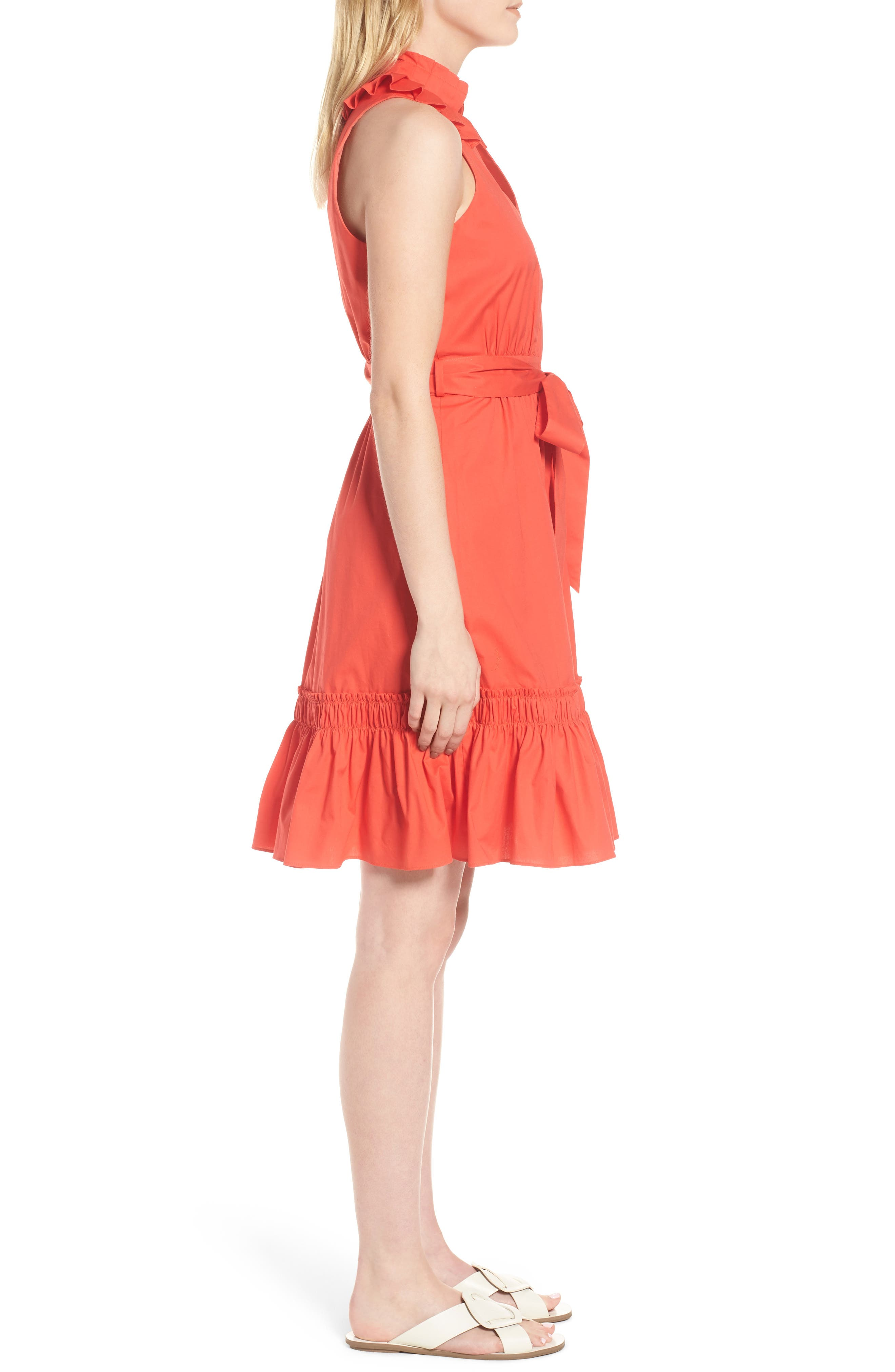 Pleat Collar Shirtdress,                             Alternate thumbnail 4, color,                             Red Bloom