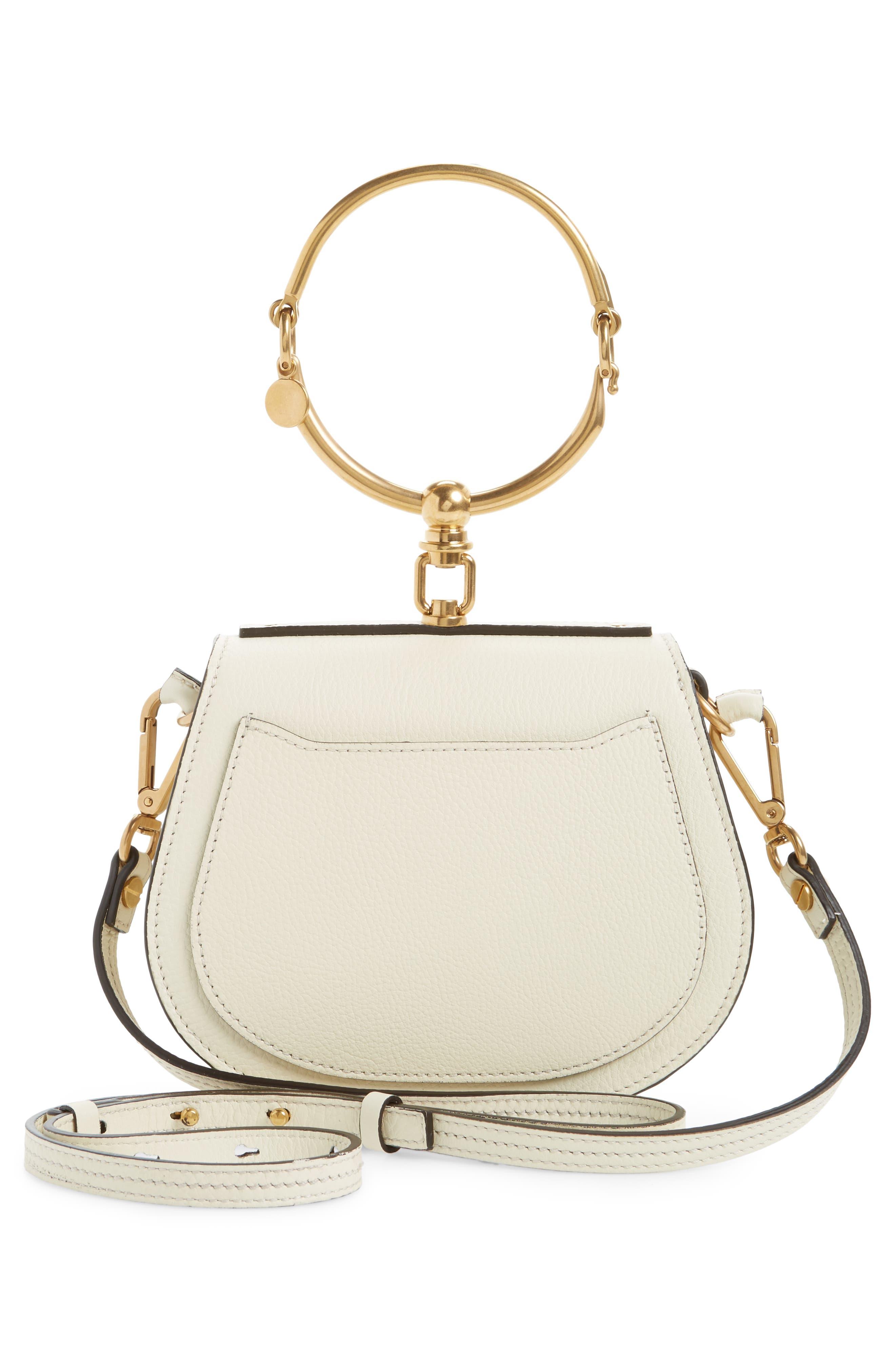 Small Nile Bracelet Leather Crossbody Bag,                             Alternate thumbnail 3, color,                             Off White