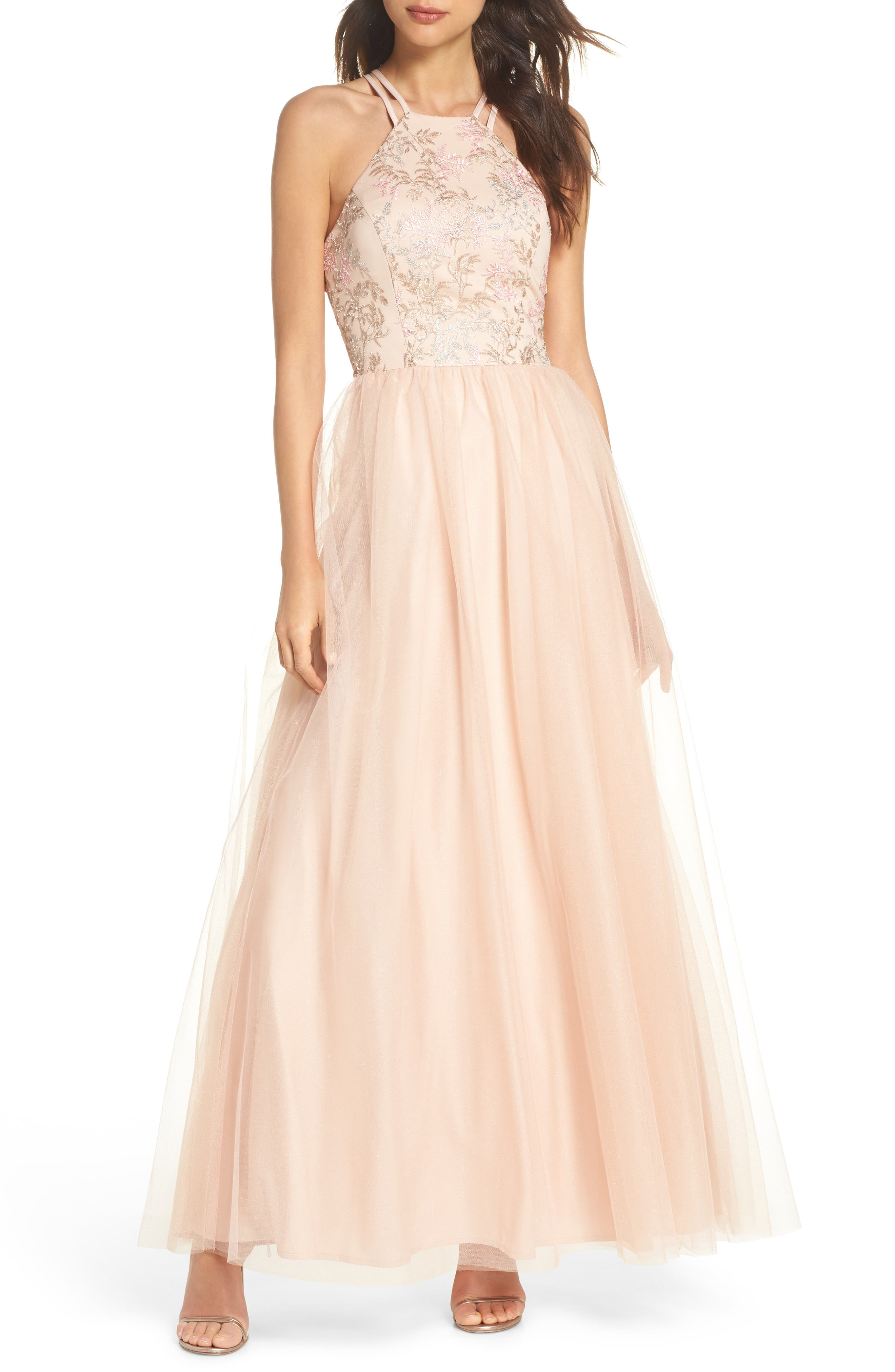 Embroidered Bodice Fit & Flare Gown,                             Main thumbnail 1, color,                             Blush / Nude / Pink
