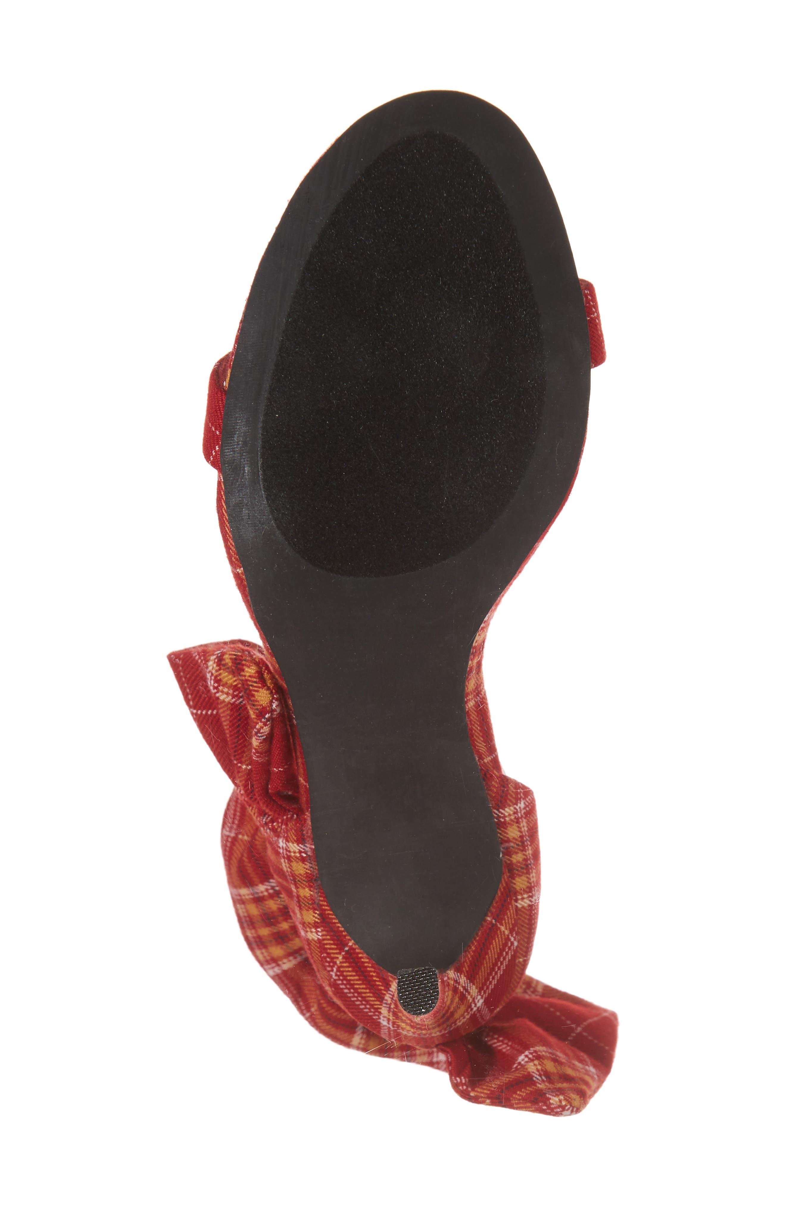 Cheshire Ruffle Sandal,                             Alternate thumbnail 6, color,                             Red Plaid Fabric