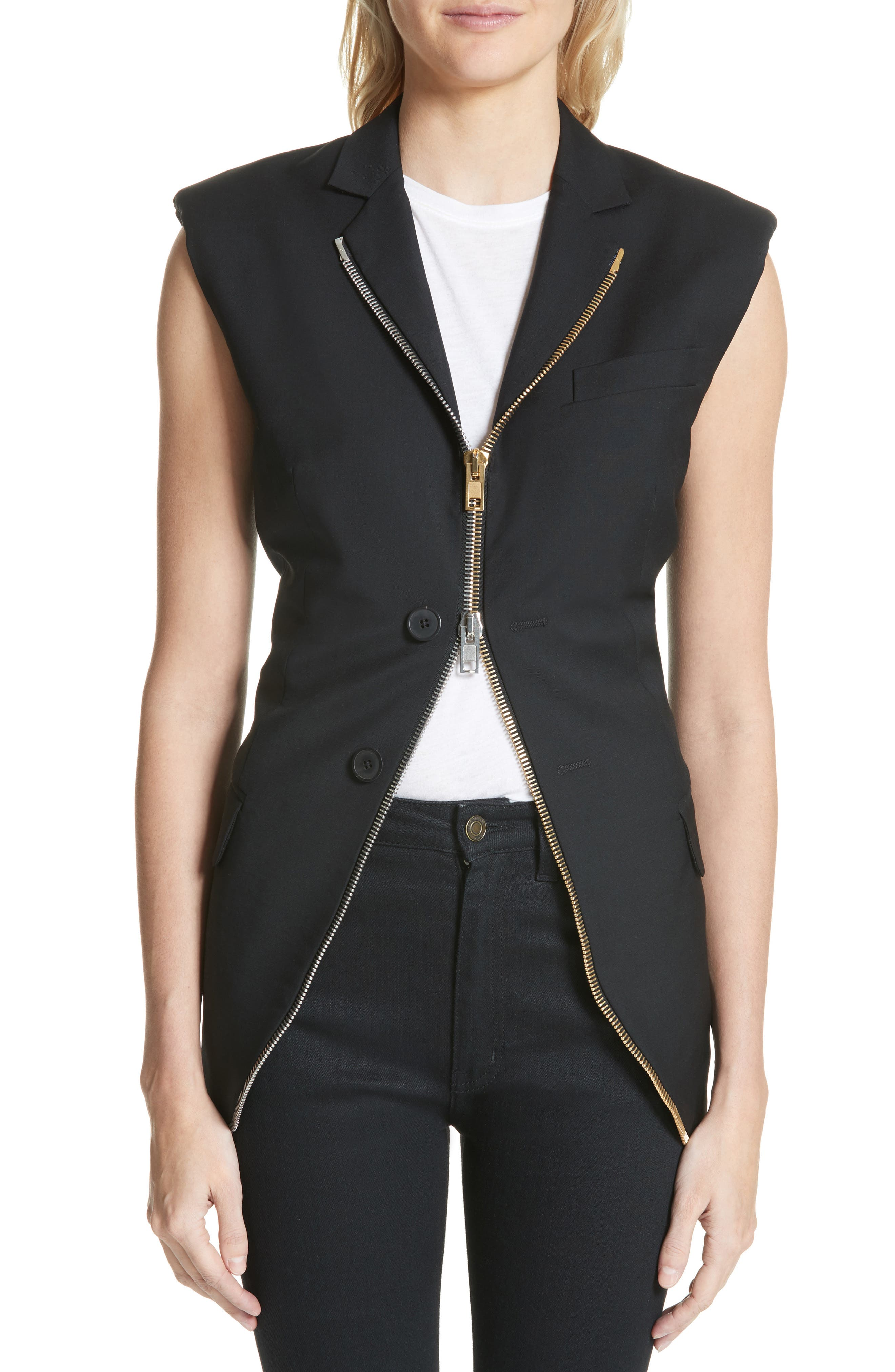 Zip Detail Vest,                         Main,                         color, Black