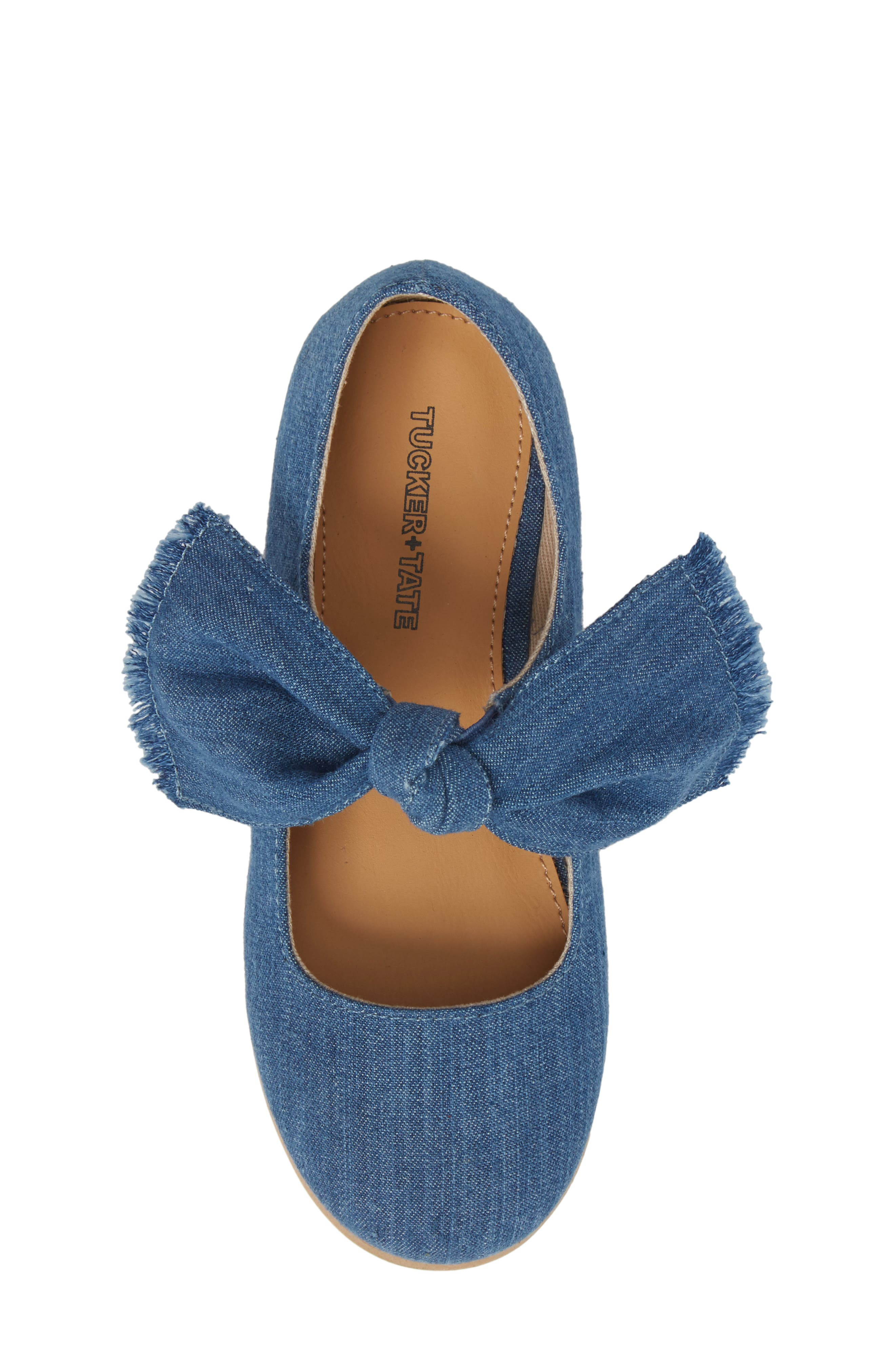 Helina Bow Mary Jane Flat,                             Alternate thumbnail 5, color,                             Chambray Fabric