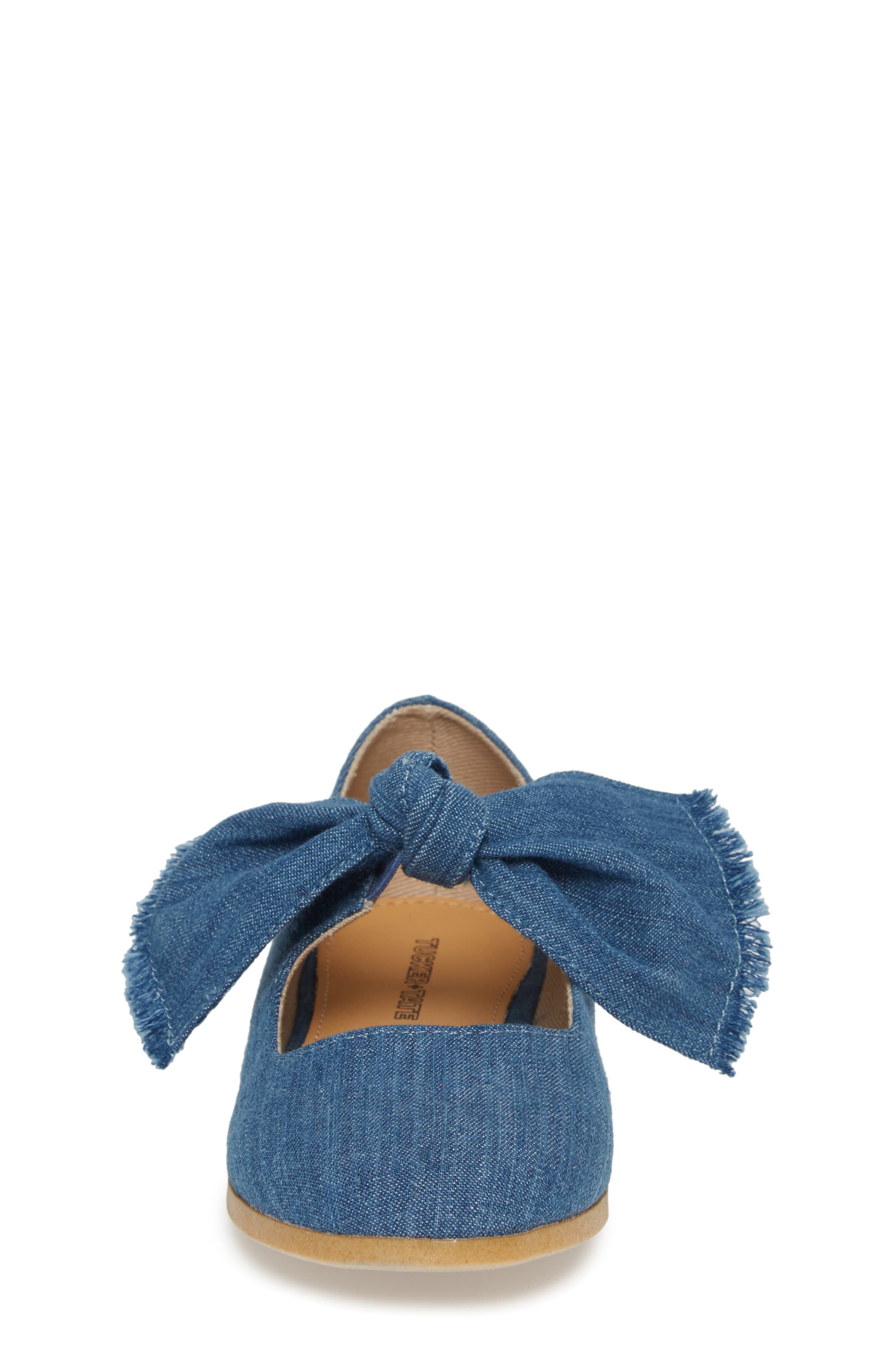 Helina Bow Mary Jane Flat,                             Alternate thumbnail 4, color,                             Chambray Fabric