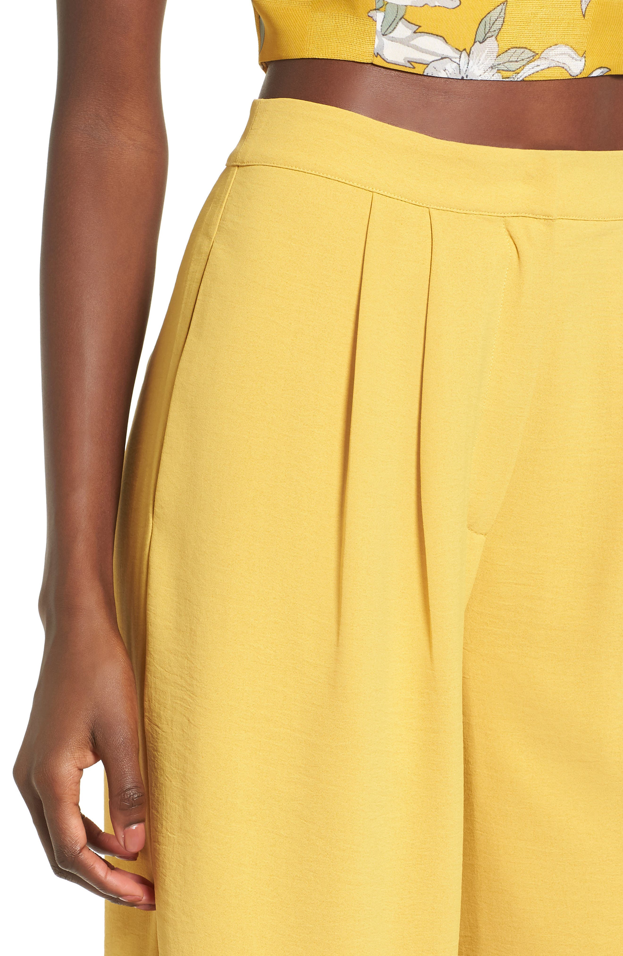 Chriselle x J.O.A. Pleat High Waist Crop Wide Leg Pants,                             Alternate thumbnail 6, color,                             Roman Gold