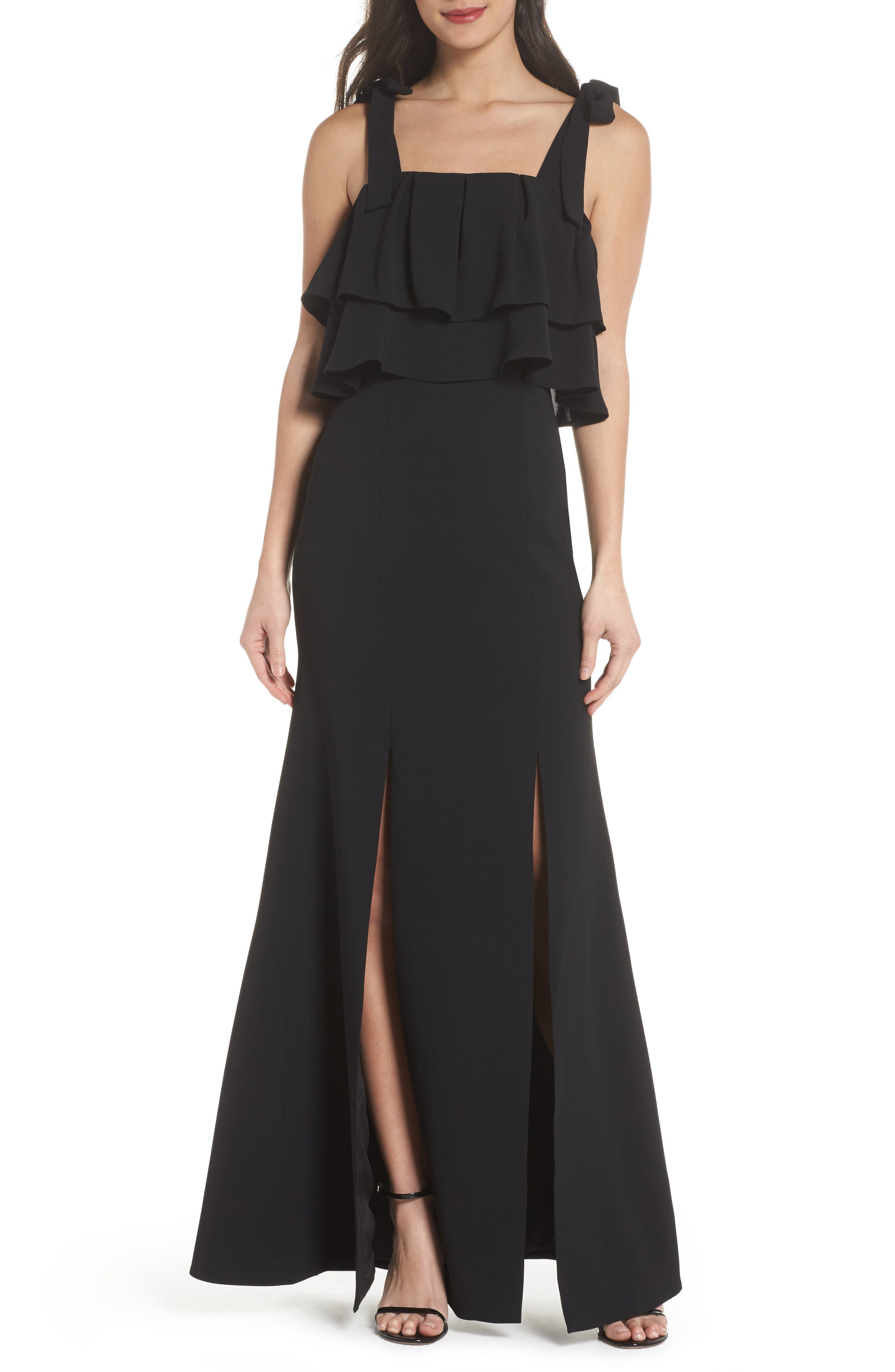 Be About You Ruffle Bodice Gown,                             Main thumbnail 1, color,                             Black