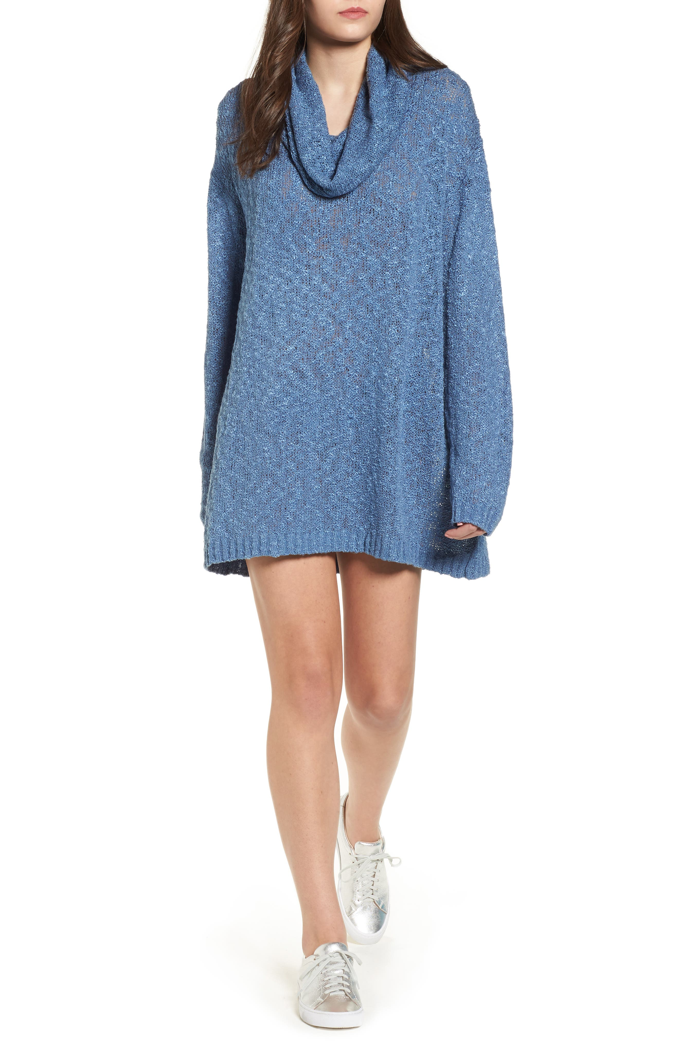 Fading Light Cowl Neck Sweater Dress,                             Main thumbnail 1, color,                             Ink Blue