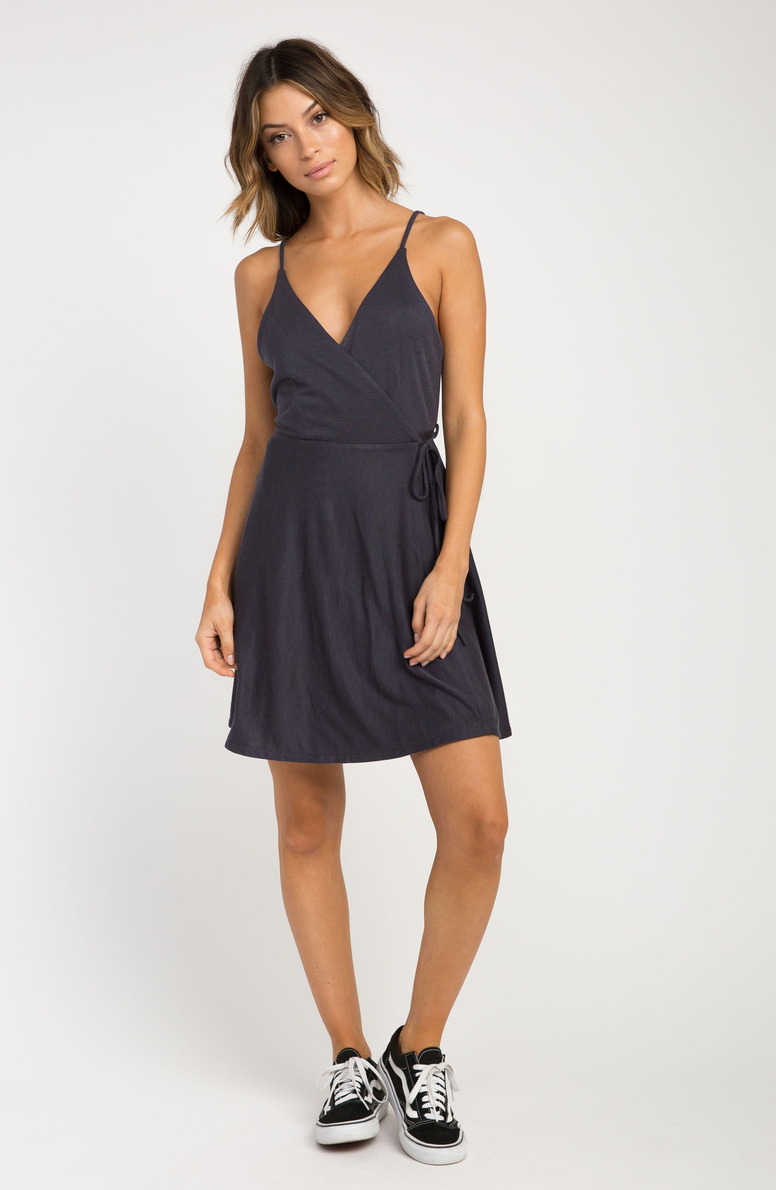 Kelso Wrap Dress,                             Alternate thumbnail 2, color,                             Black