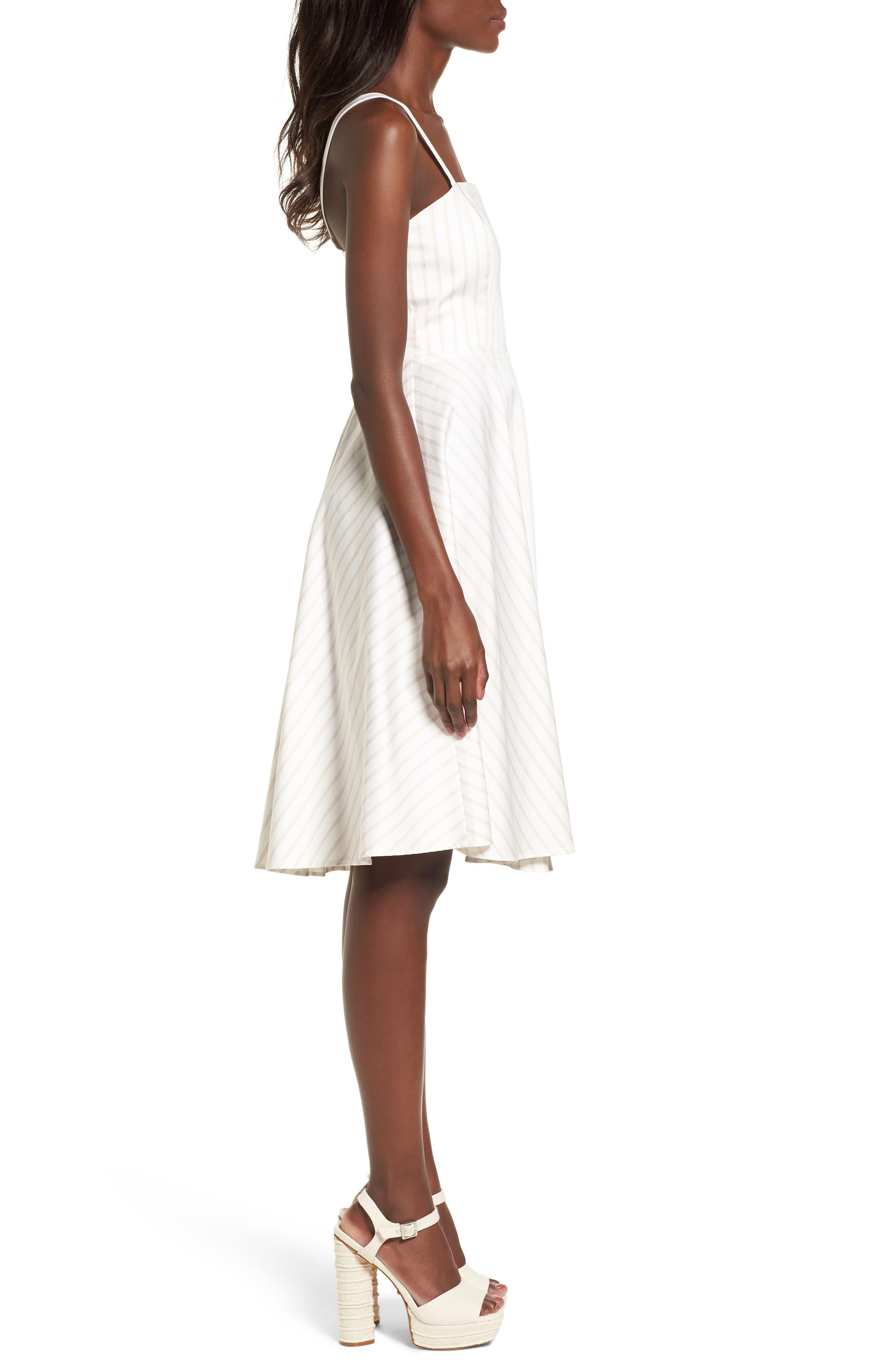 Fit & Flare Dress,                             Alternate thumbnail 3, color,                             Ivory Ashley Stripe