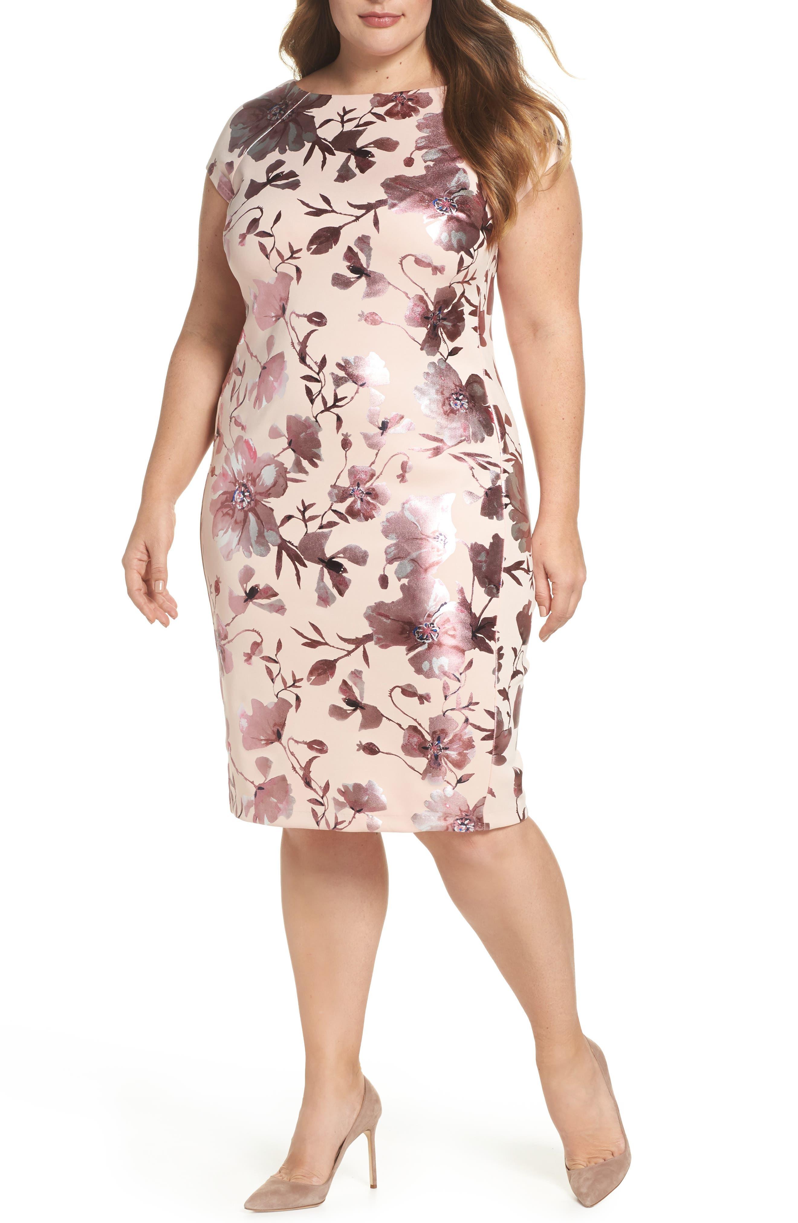 Foil Print Sheath Dress,                             Main thumbnail 1, color,                             Pink