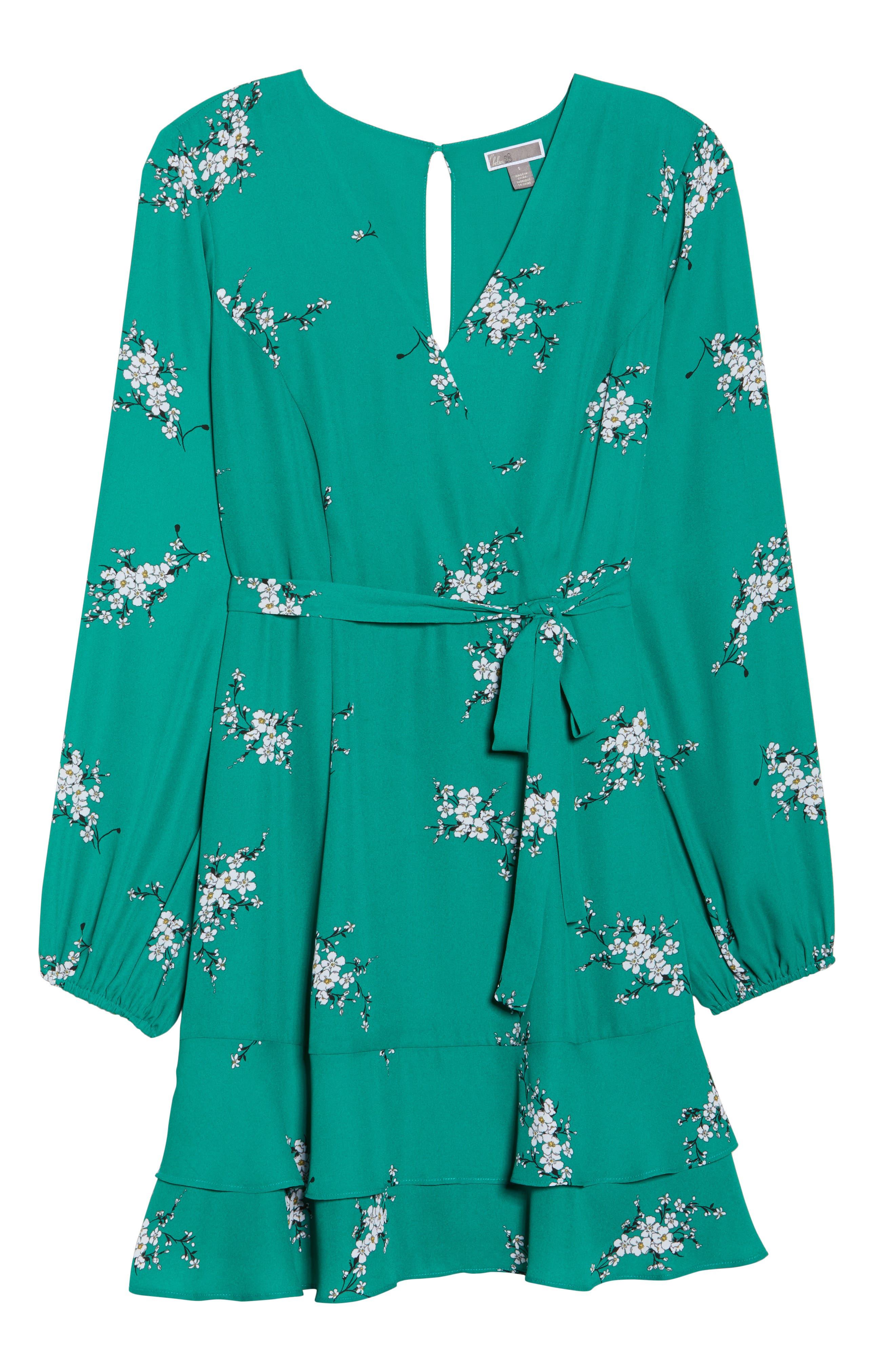 Floral Faux Wrap Dress,                             Alternate thumbnail 6, color,                             Green Branch Floral