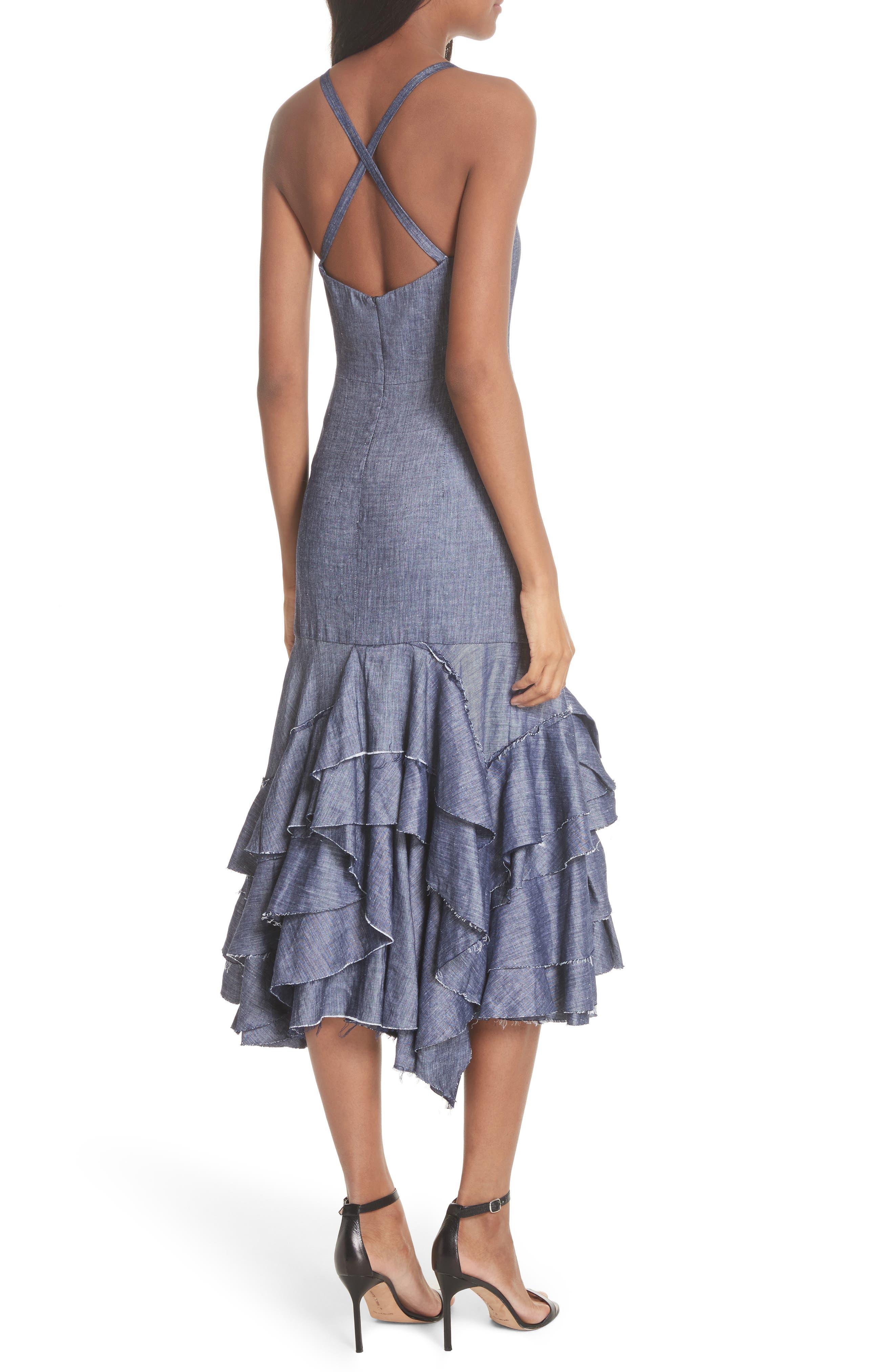 Apron Ruffle Midi Dress,                             Alternate thumbnail 2, color,                             Blue